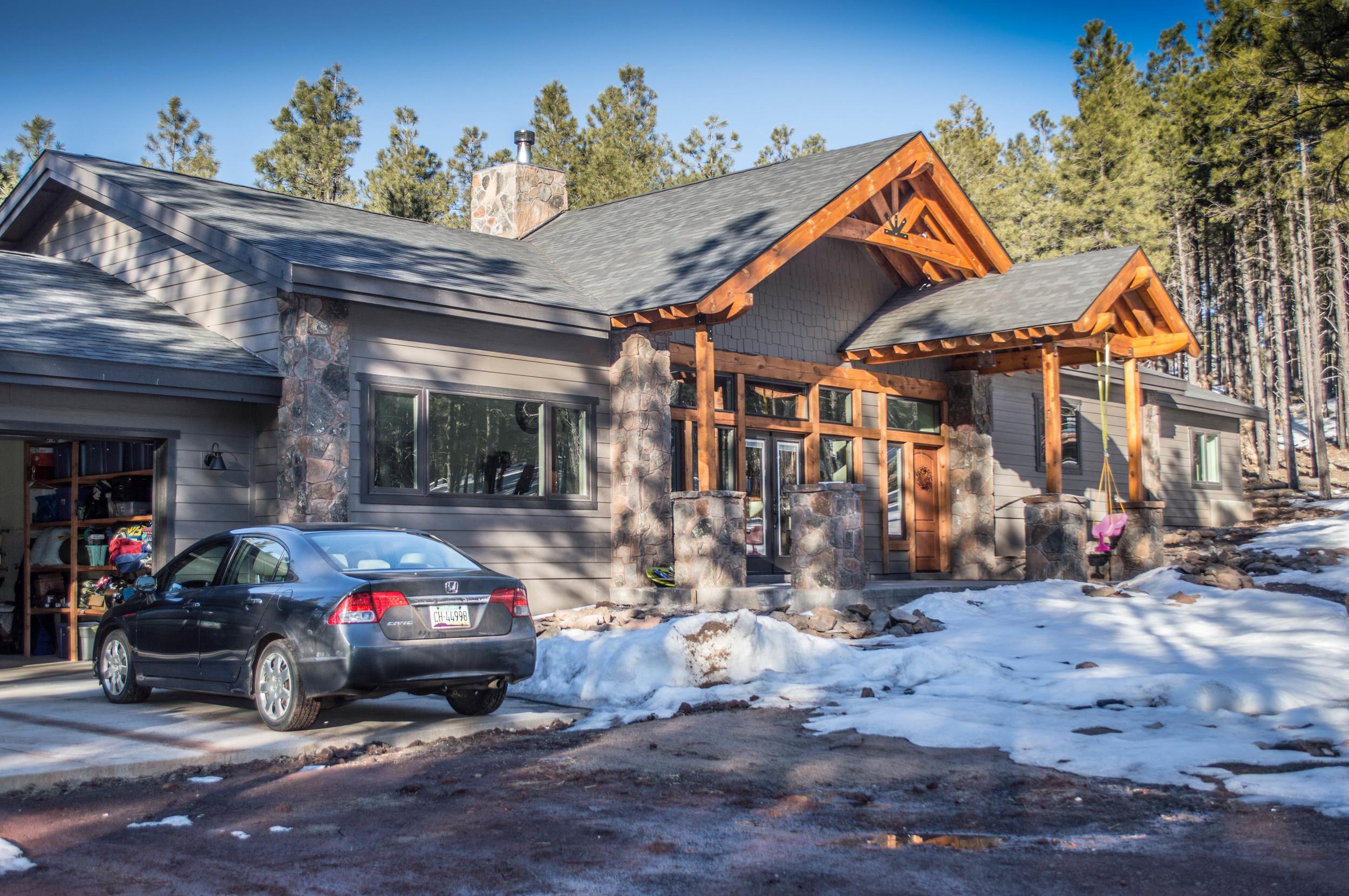 Completed custom home outside of Flagstaff, Arizona.