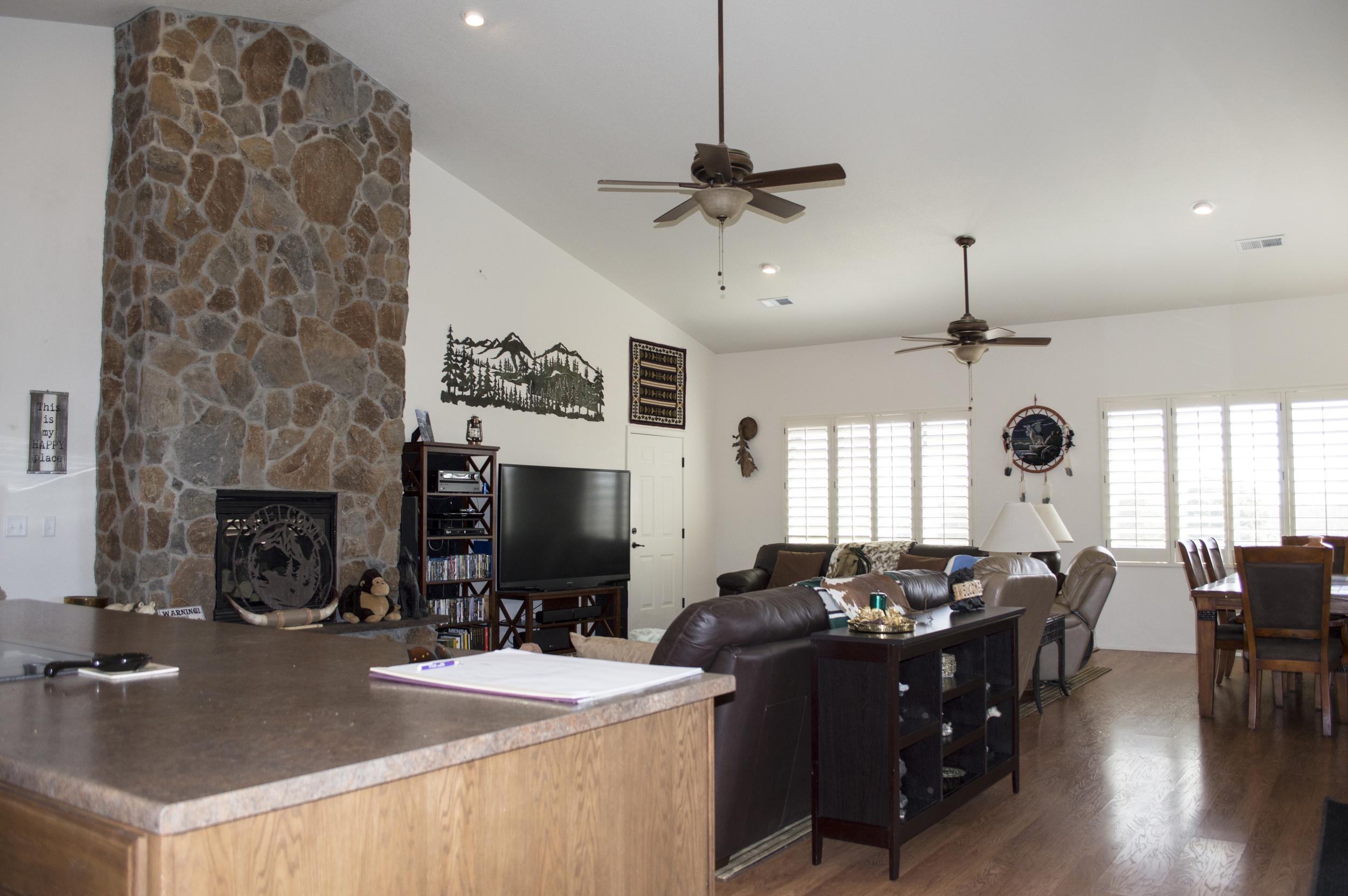 Dining room of a residential custom home near Flagstaff, Arizona.