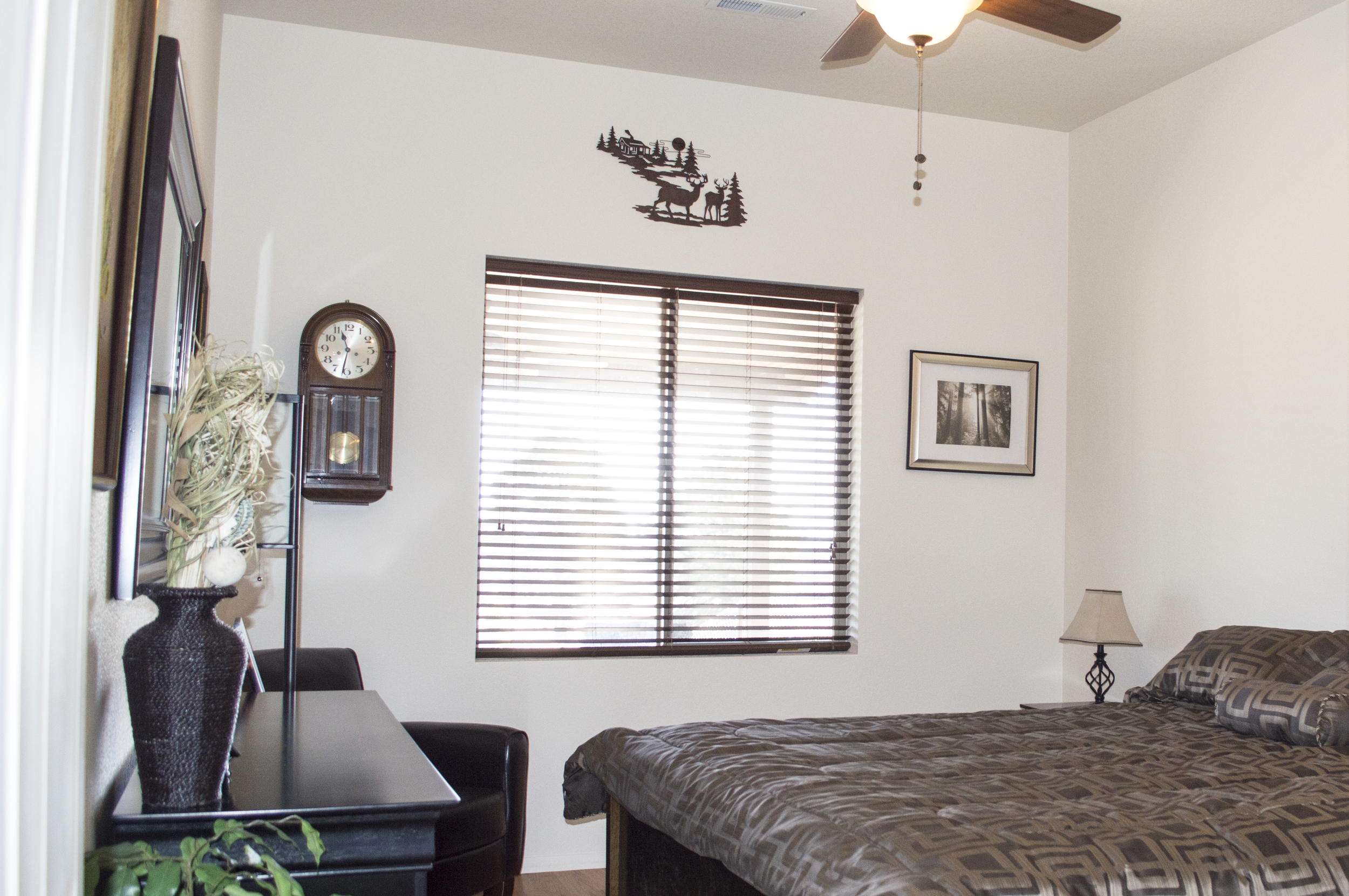 Bedroom of a residential custom home near Flagstaff, Arizona.