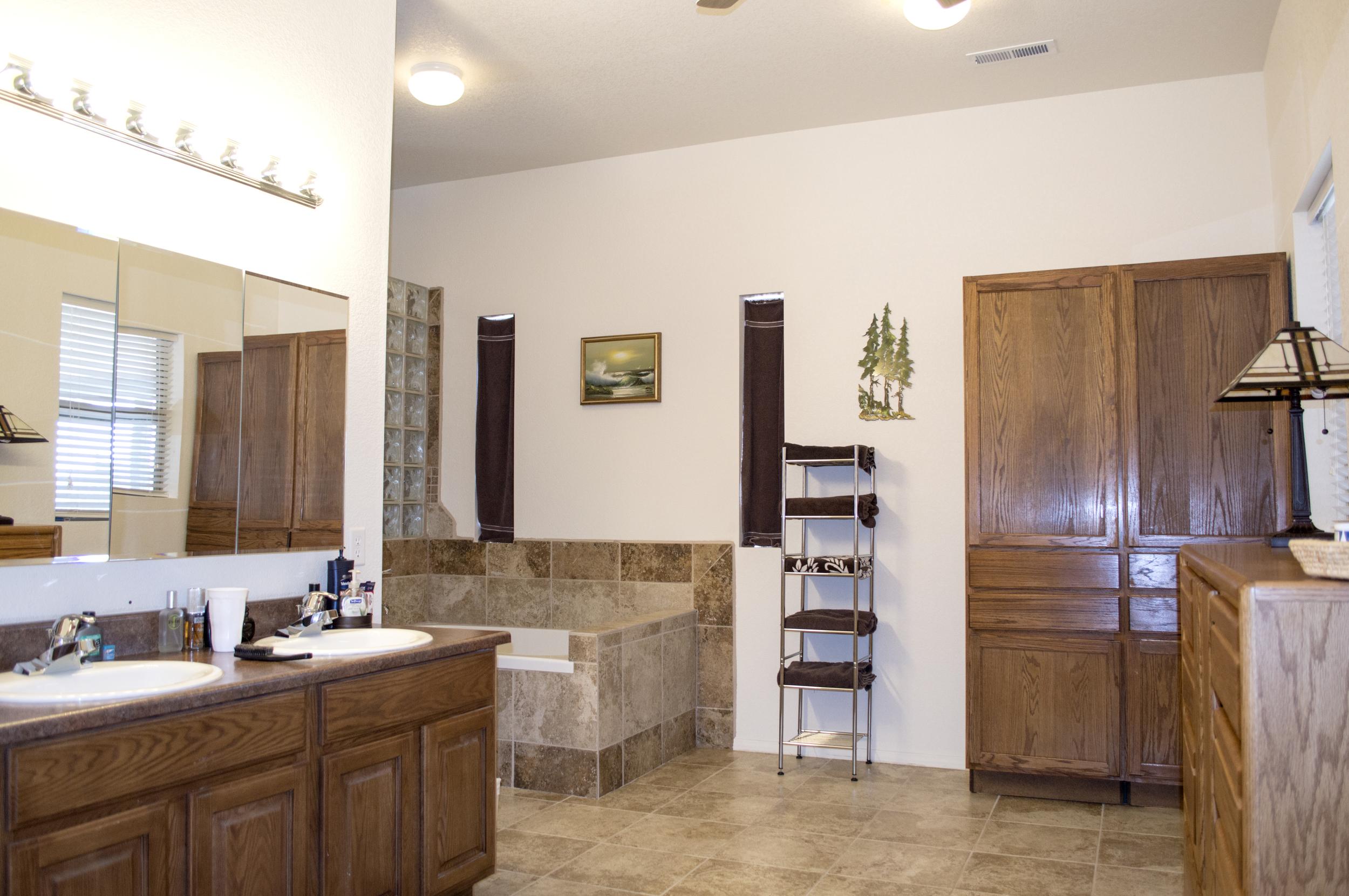 Bathroom of a residential custom home near Flagstaff, Arizona.