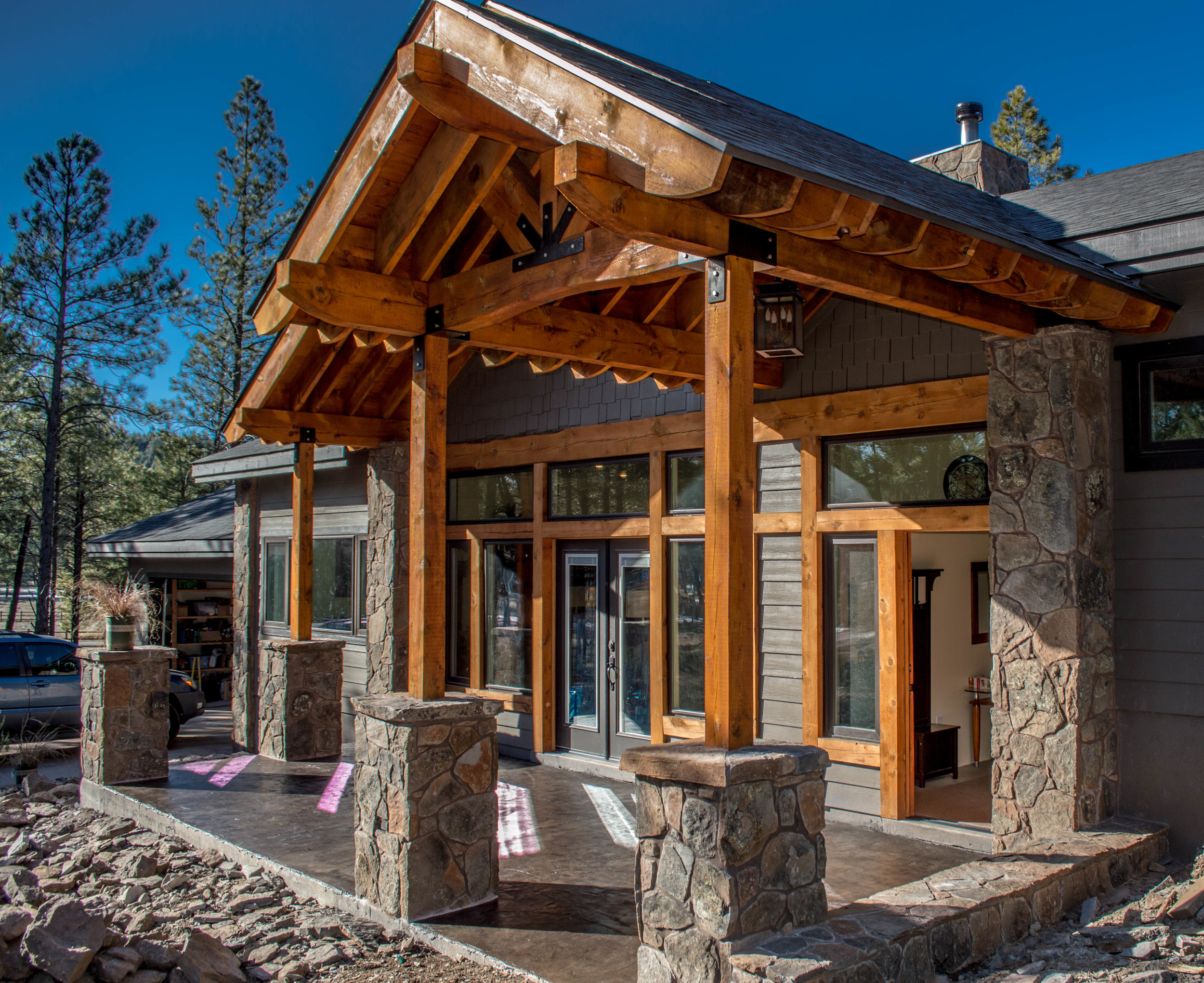 Entry way of a custom residential home near Flagstaff, Arizona.
