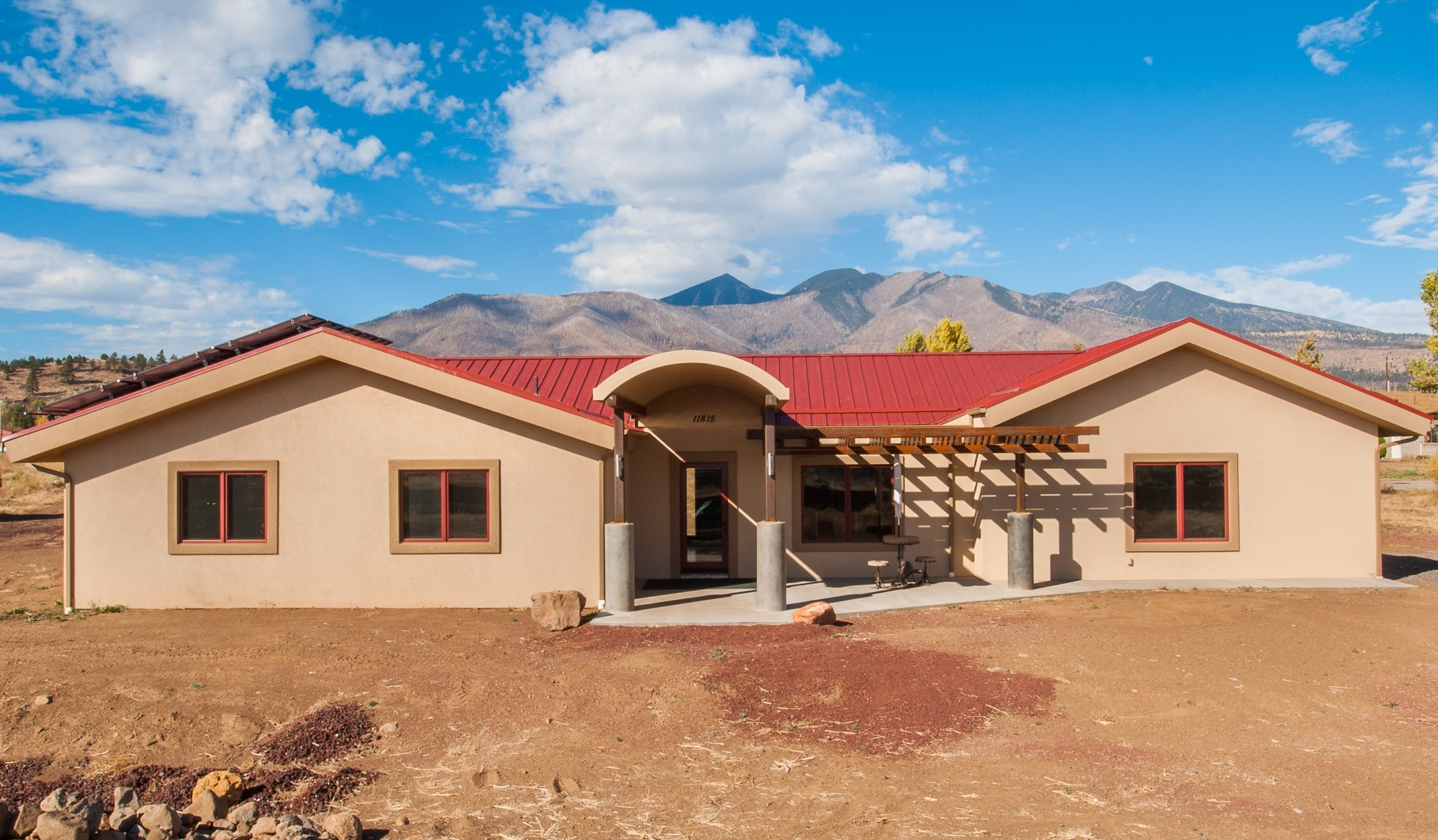 The outside of a completed custom residential home near Flagstaff, Arizona.