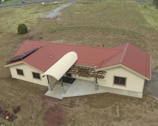 Drone photograph of a custom residential home near Flagstaff, Arizona.