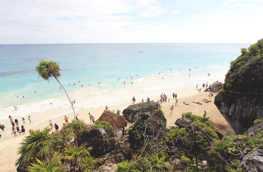 tulum ruins mexico beach ocean palm tree tropic