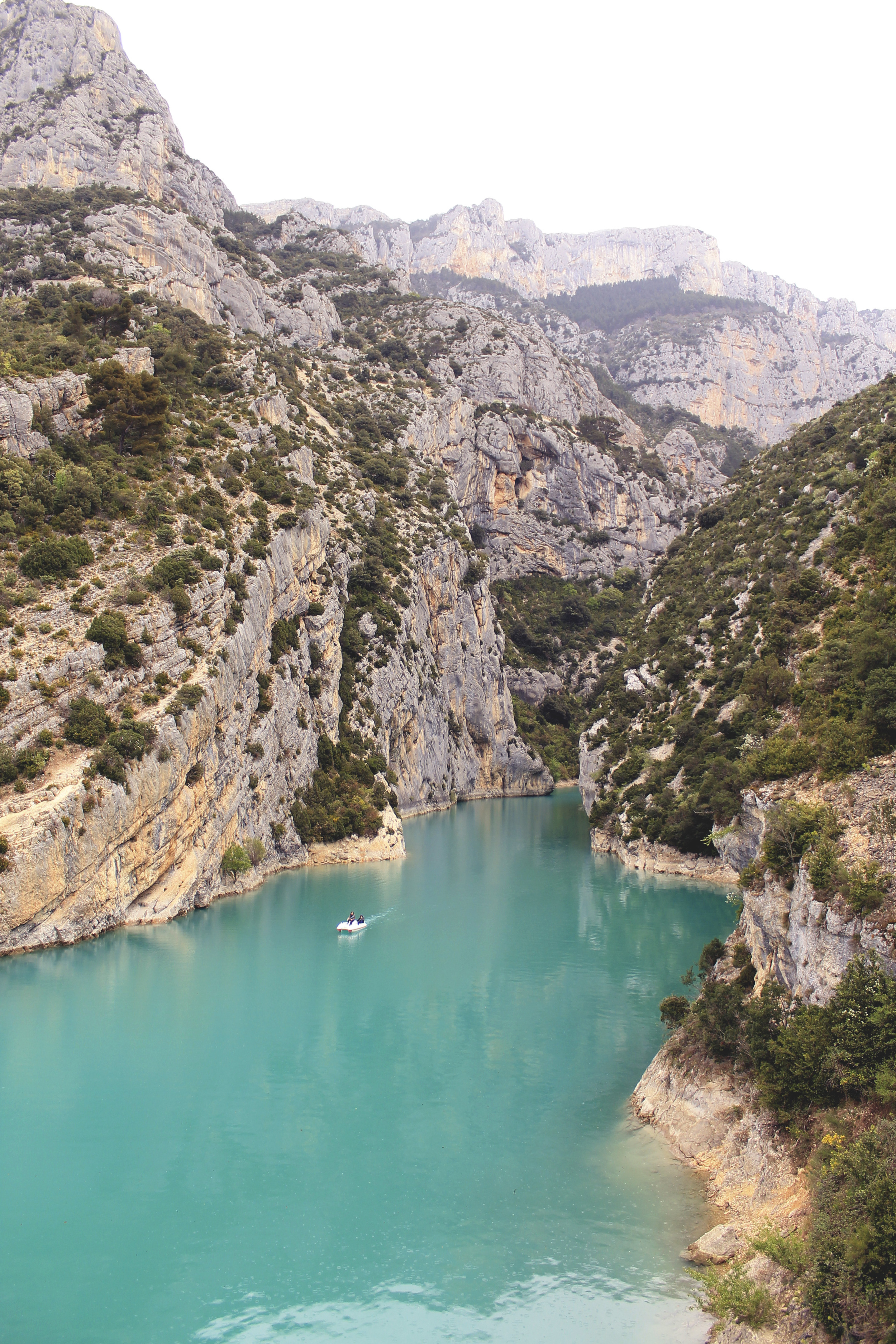 canyon river france south mountains boat turquoise water