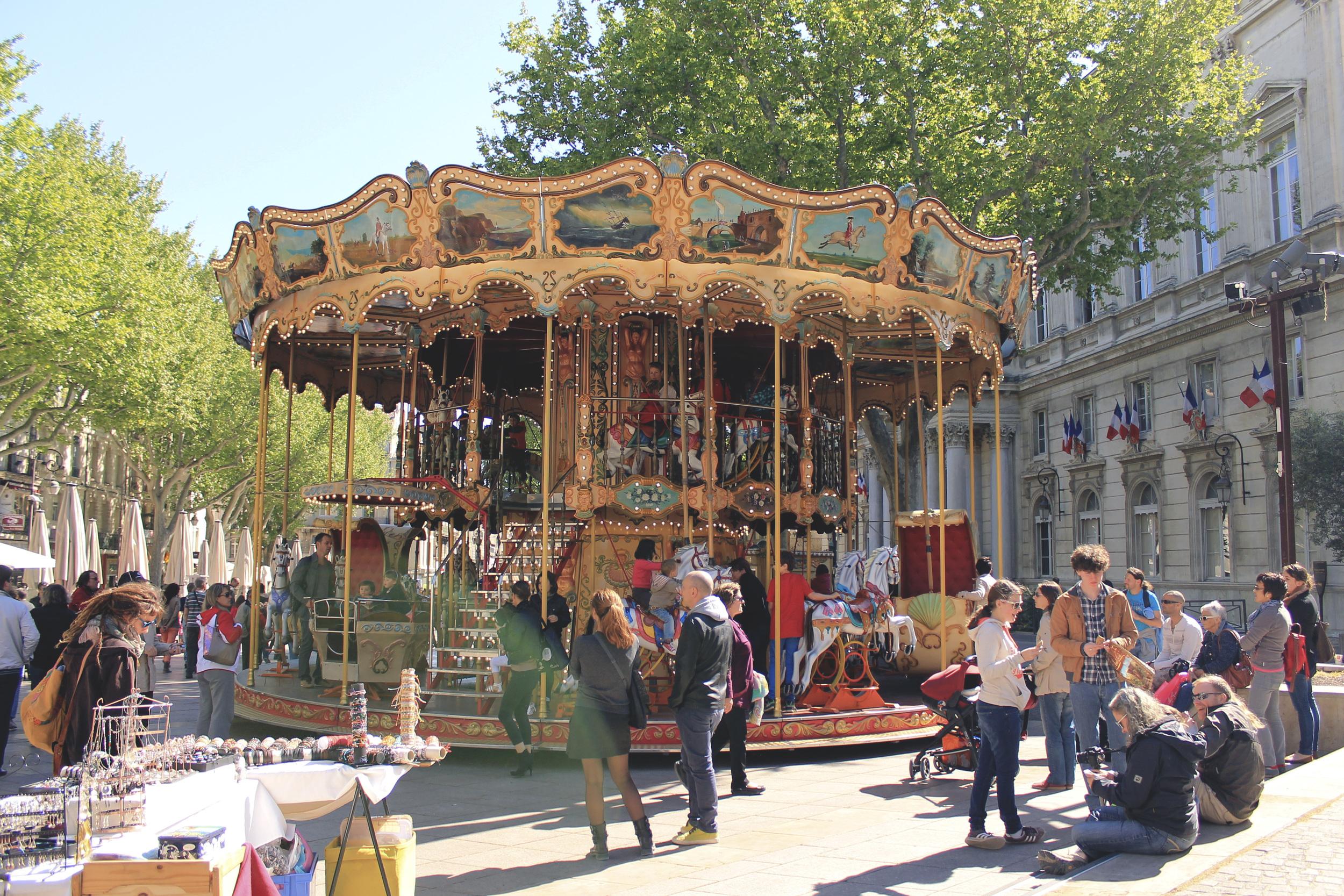 carousel streets france avignon spring