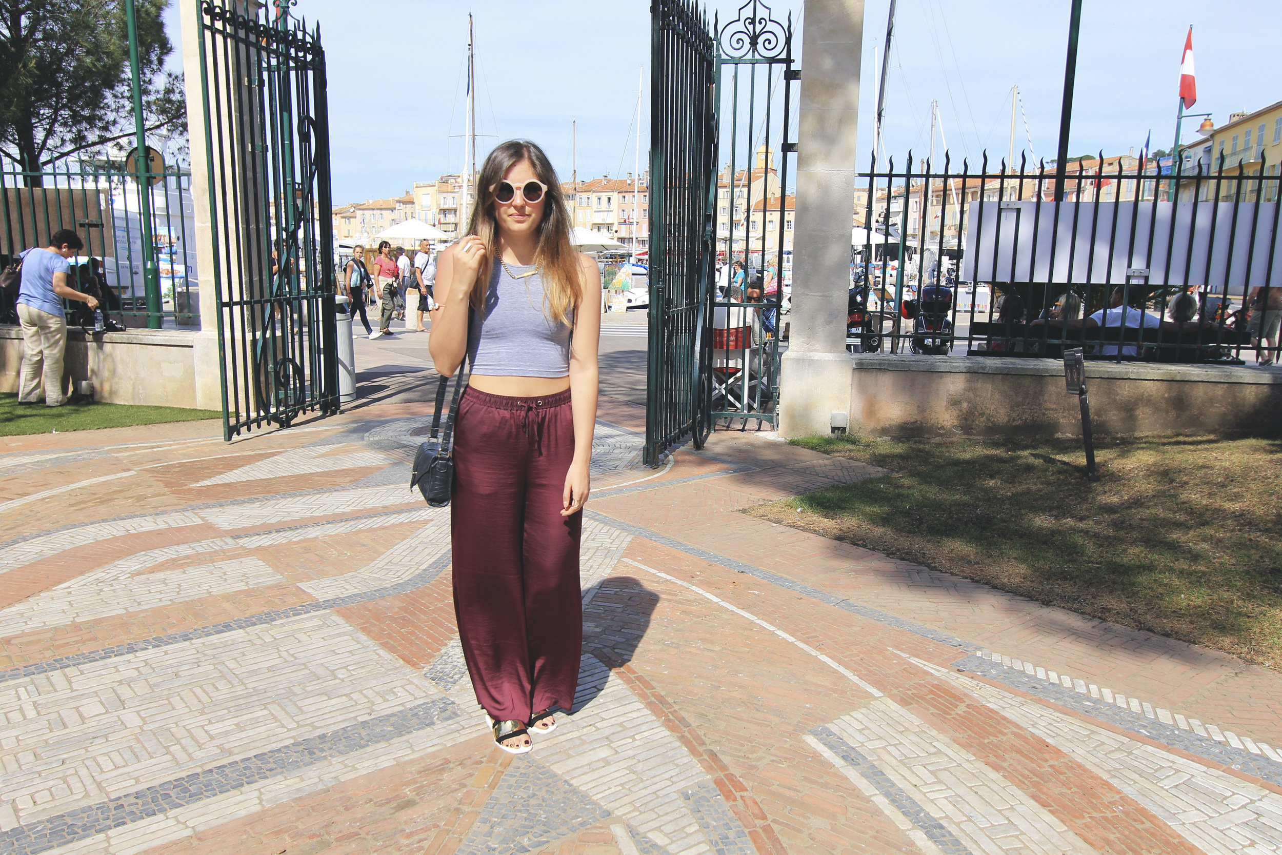 h&m concious collection burgundy wide leg palazzo pants