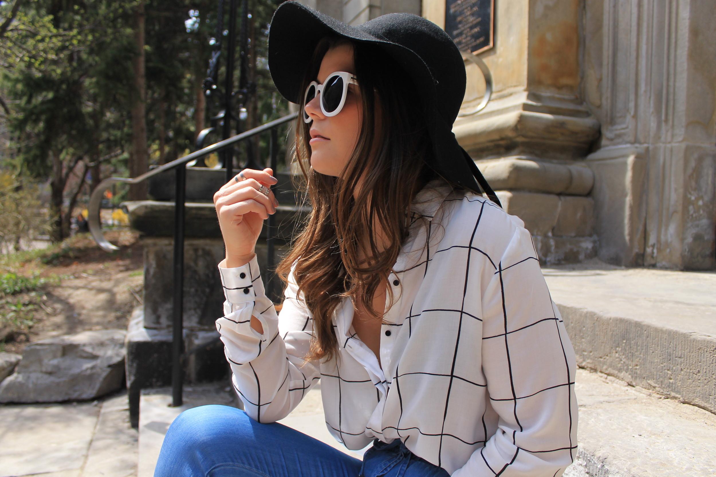 H&M Patterned Blouse Floppy Felt Had Oversized Round Sunglasses