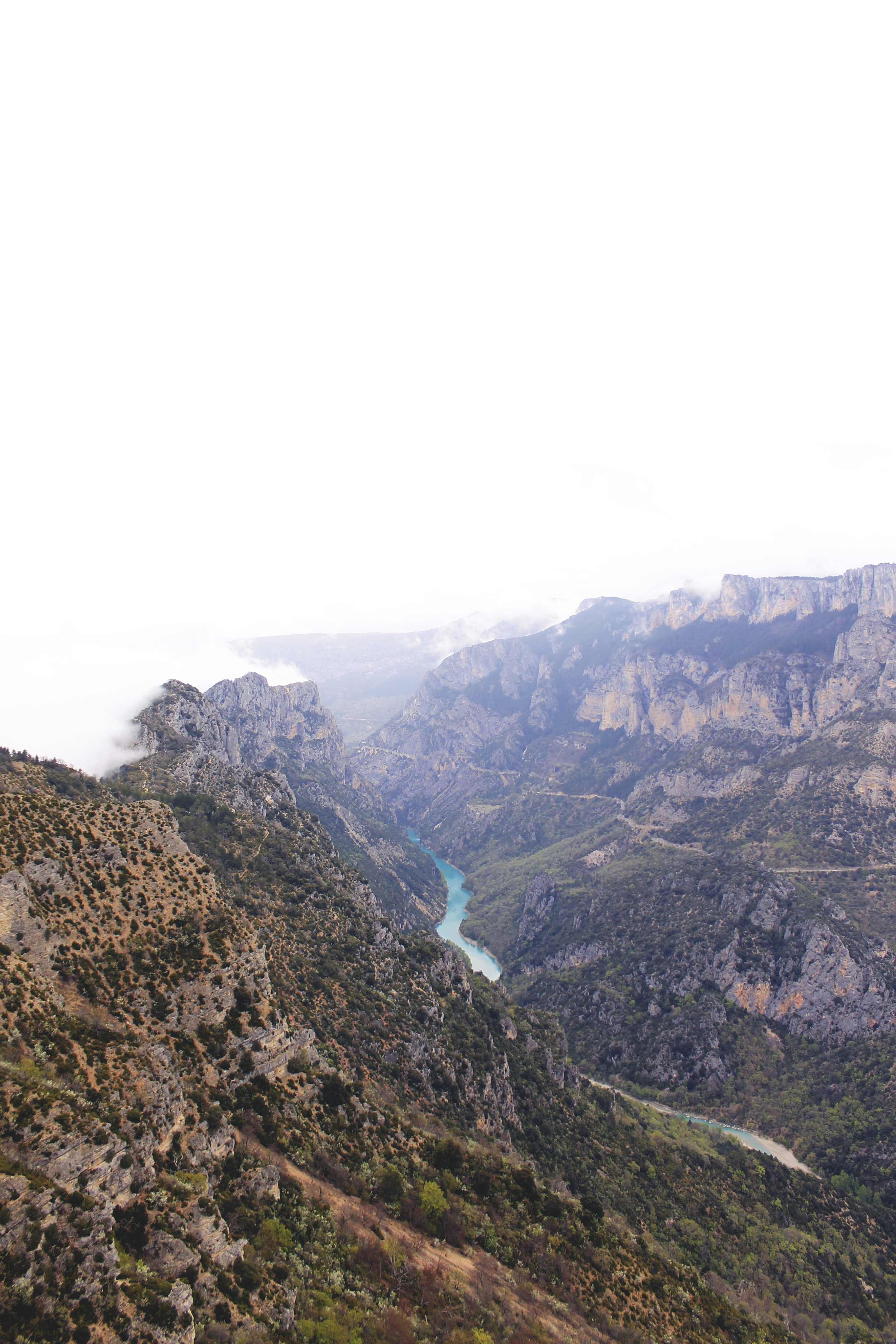 river valley mountains canyon misty france verdon