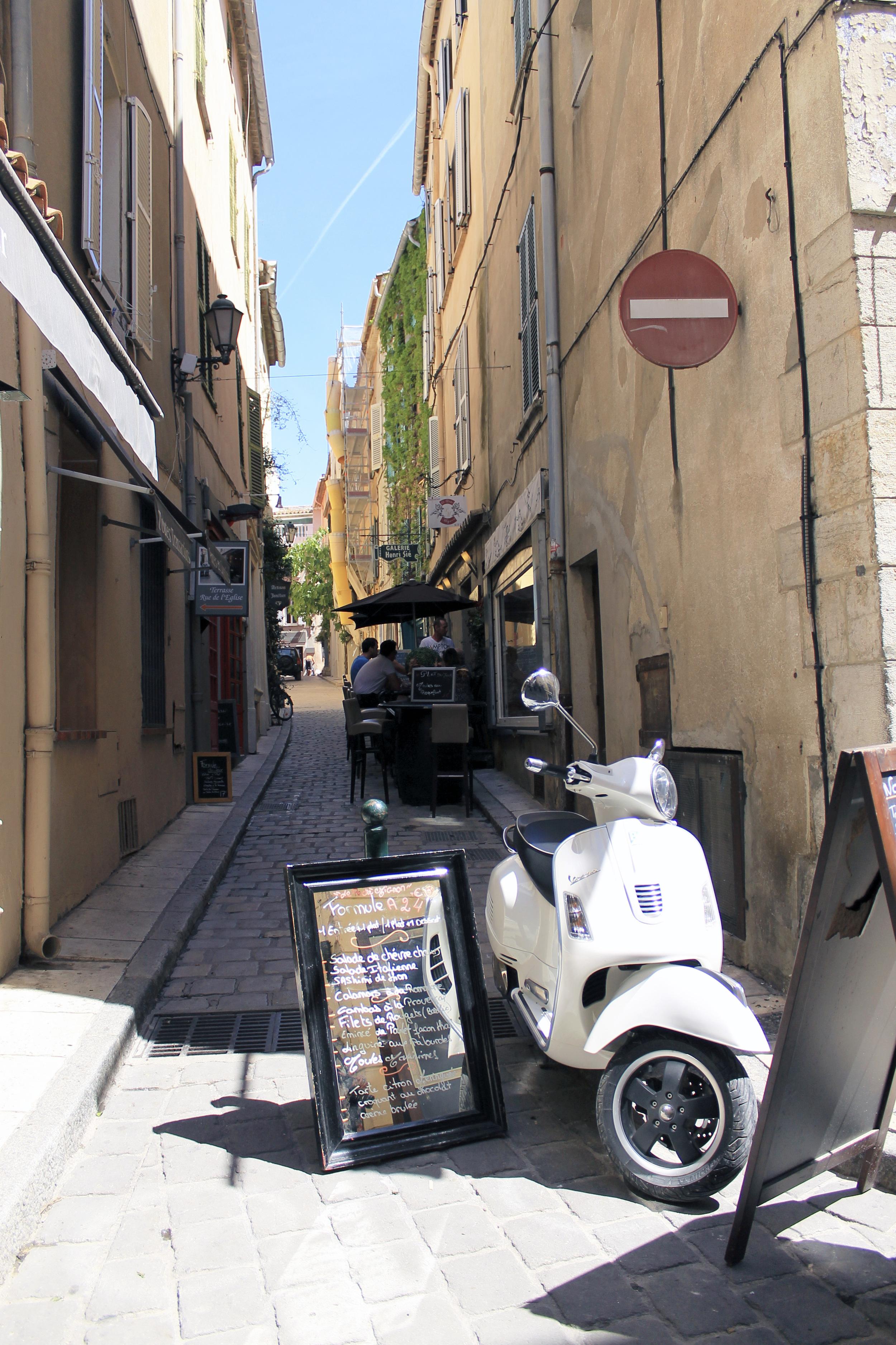 st tropez vespa scooter street france