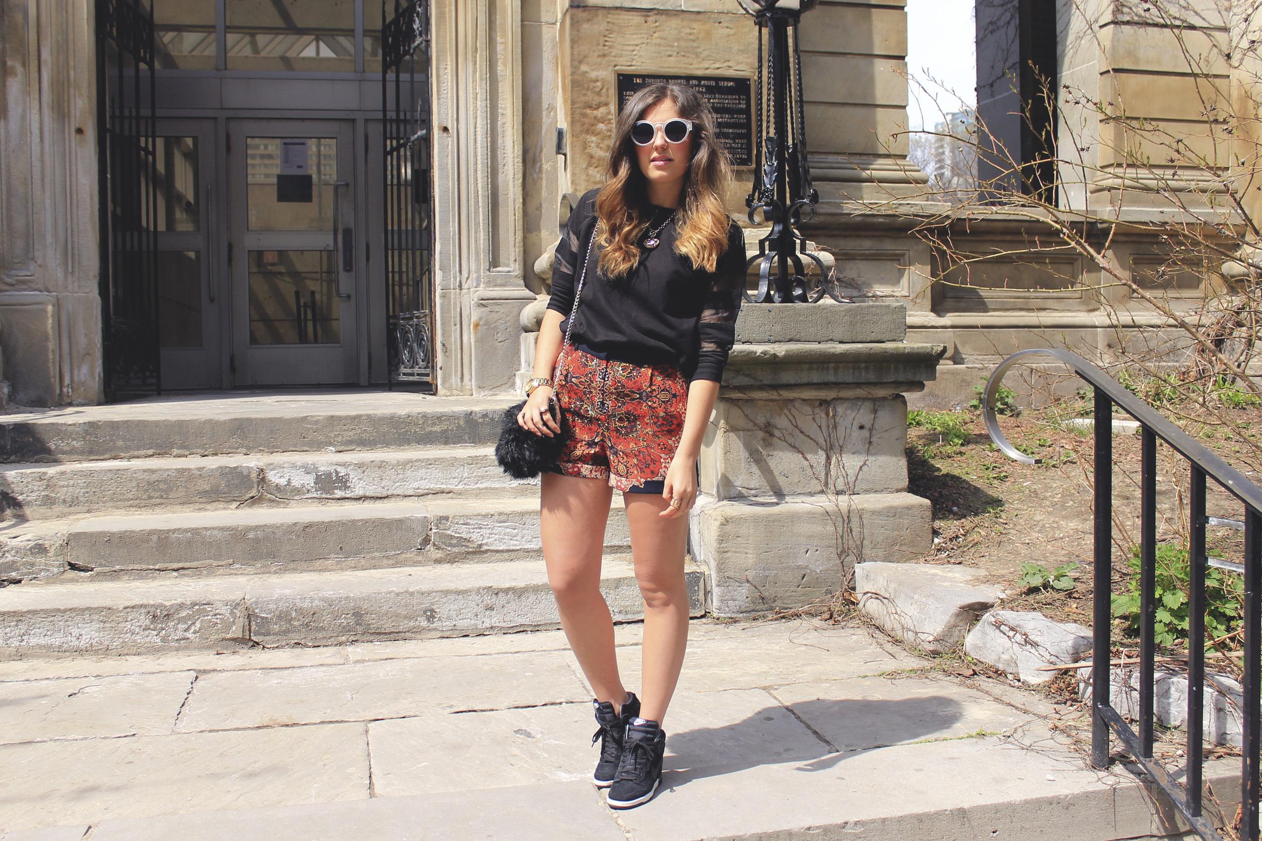 topshop red black paisley scarf print shorts