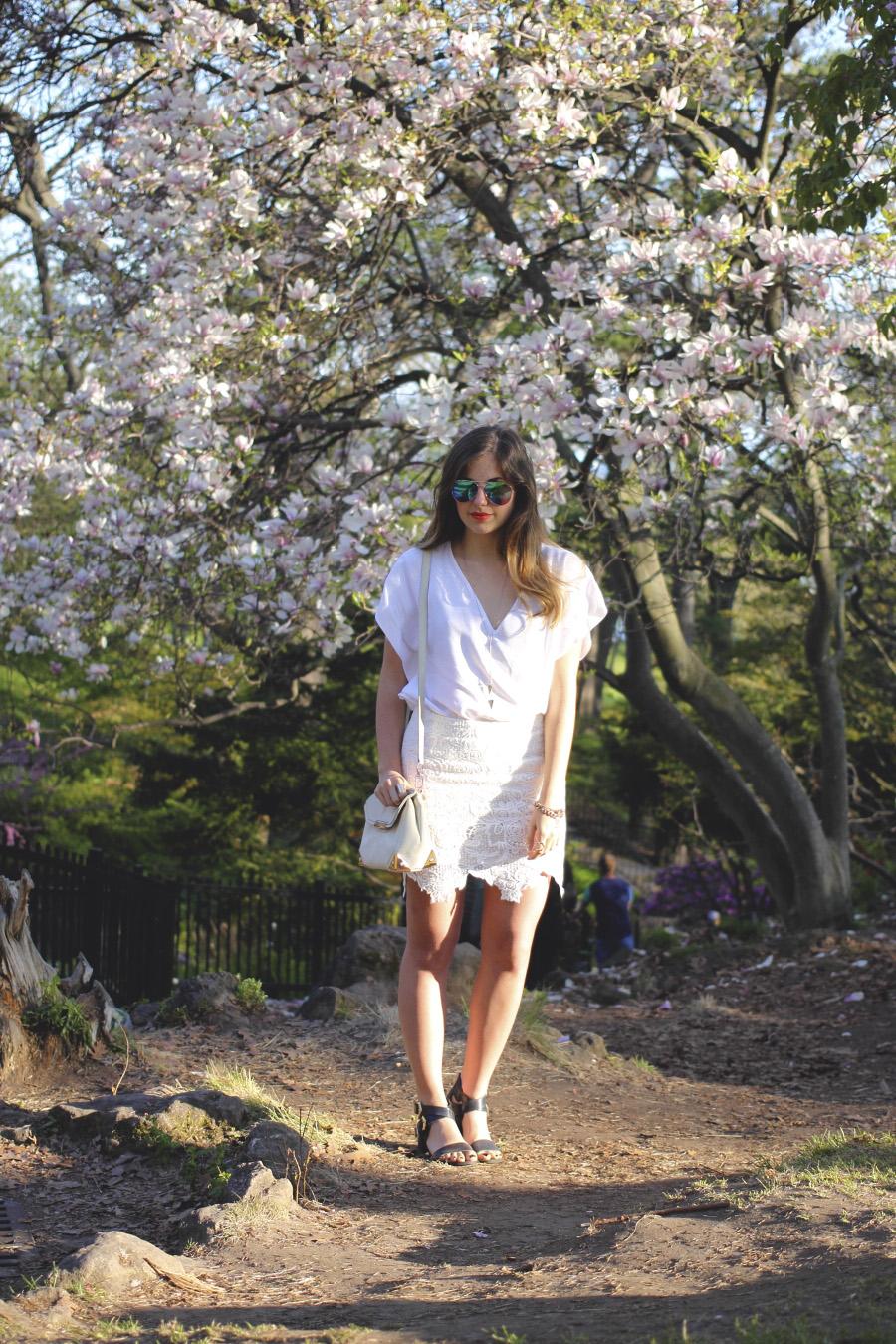 toronto cherry blossoms crochet white lace midi skirt forever 21