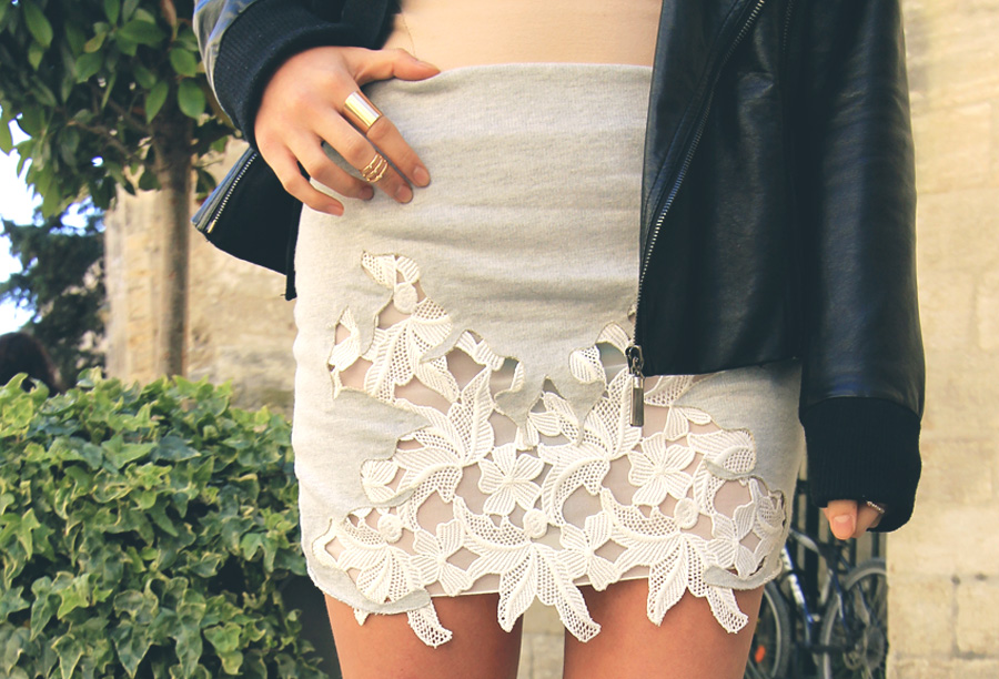 zara french terry sweatshirt skirt lace crochet white insert