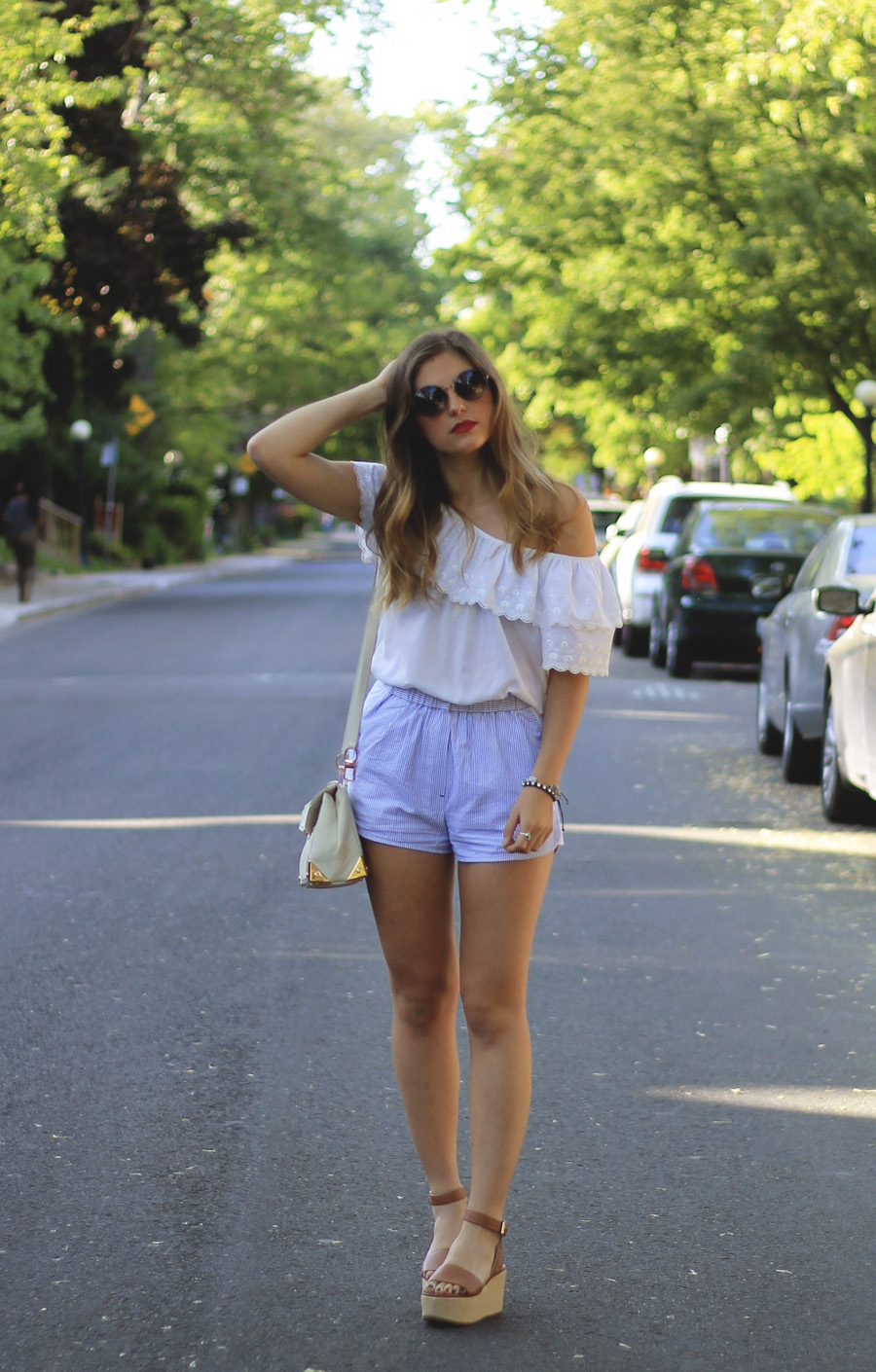 vintage frill white top blue pinstripe shorts brown raffia flatforms