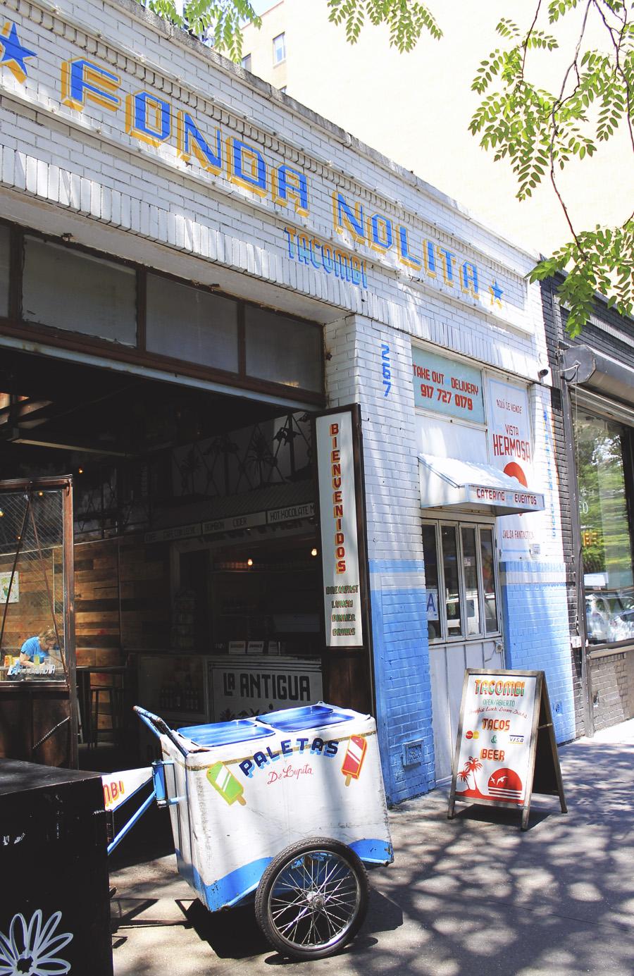 fonda nolita mexican blue white restaurant street new york