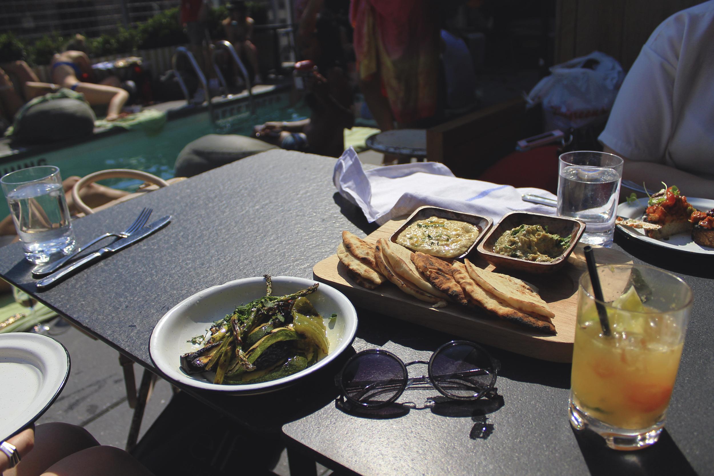 la piscine americano bar hummus pita cocktails