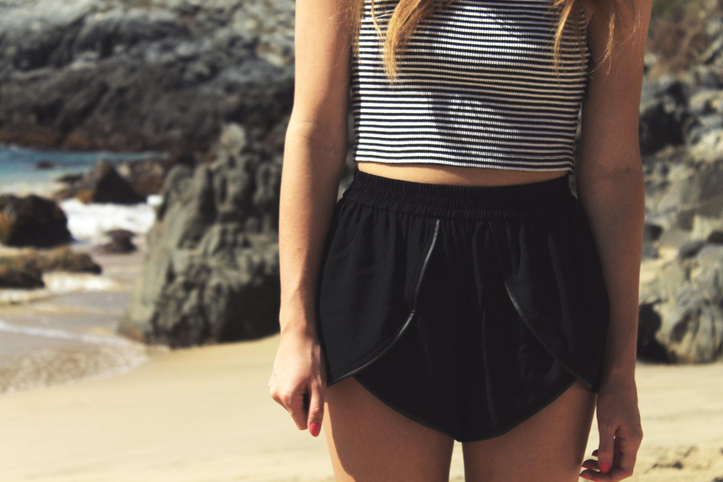forever 21 cross front jogging shorts black leather trim