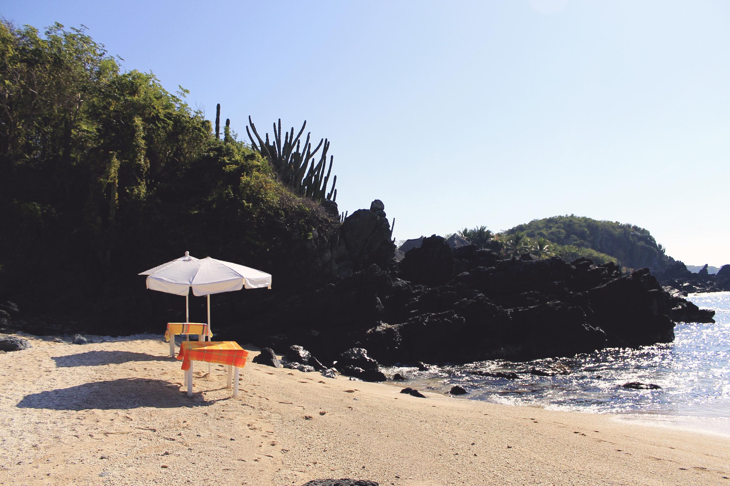 ixtapa mexico island beach umbrella ocean