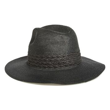 black straw panama hat