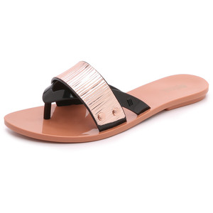 melissa cream slide sandal black gold plate