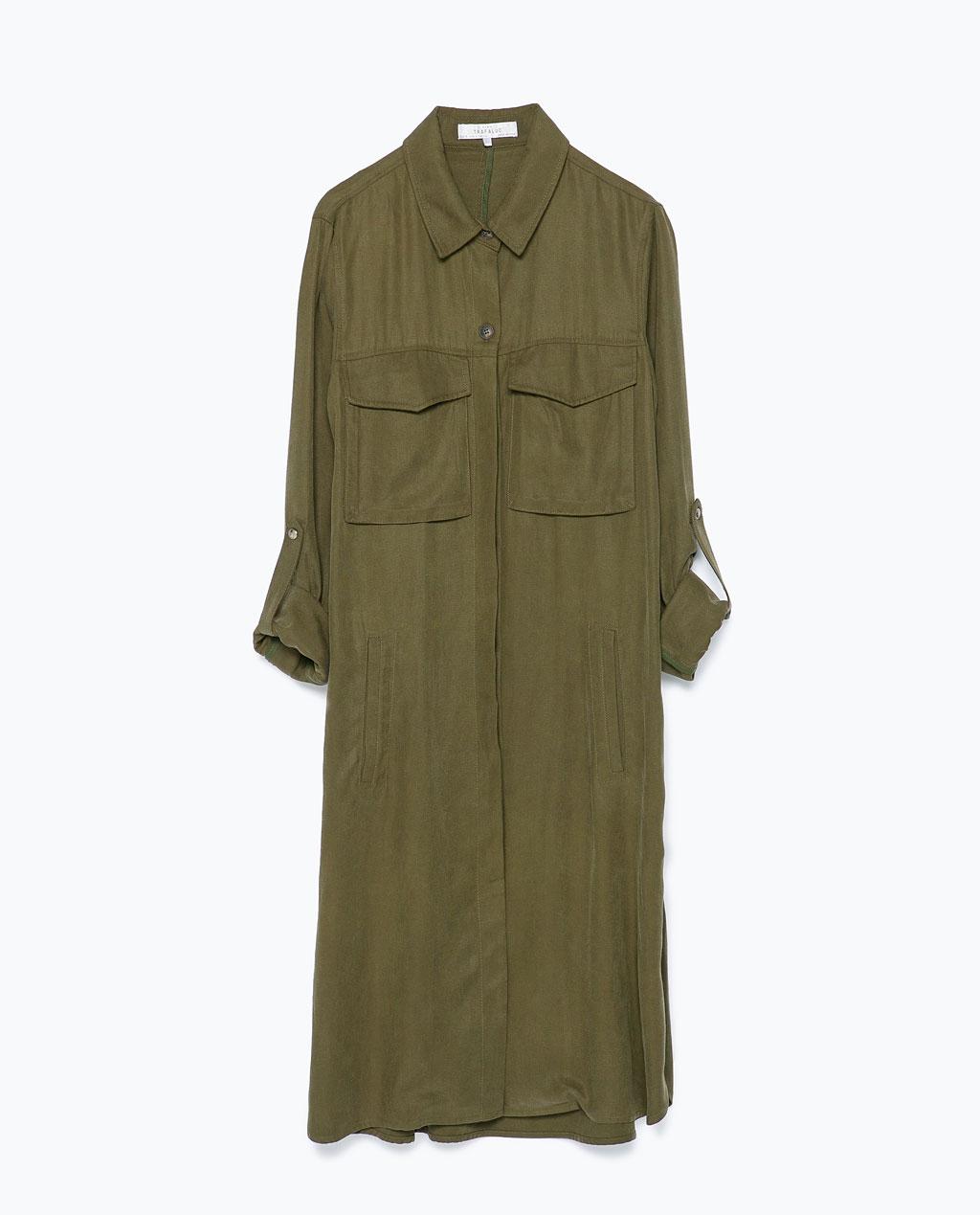 long overshirt zara dark khaki
