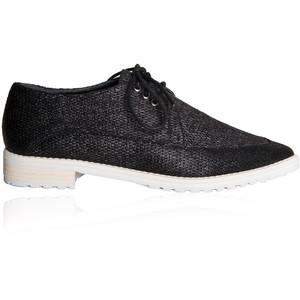 tibi black linen kern loafers