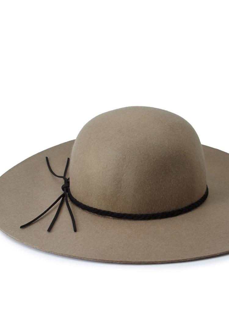 Braided Tassel Floppy Hat forever 21 taupe grey