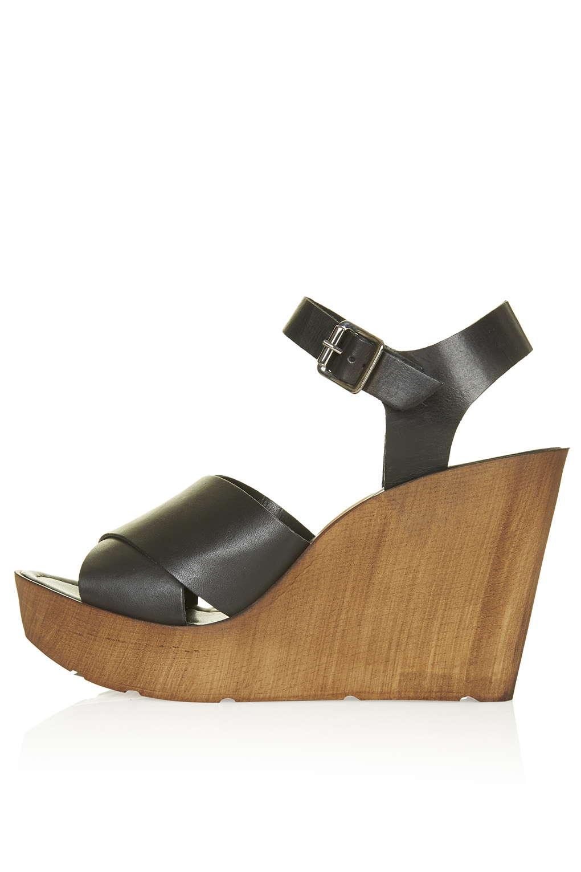 WORLDIE Wedge Sandals topshop black wood platform