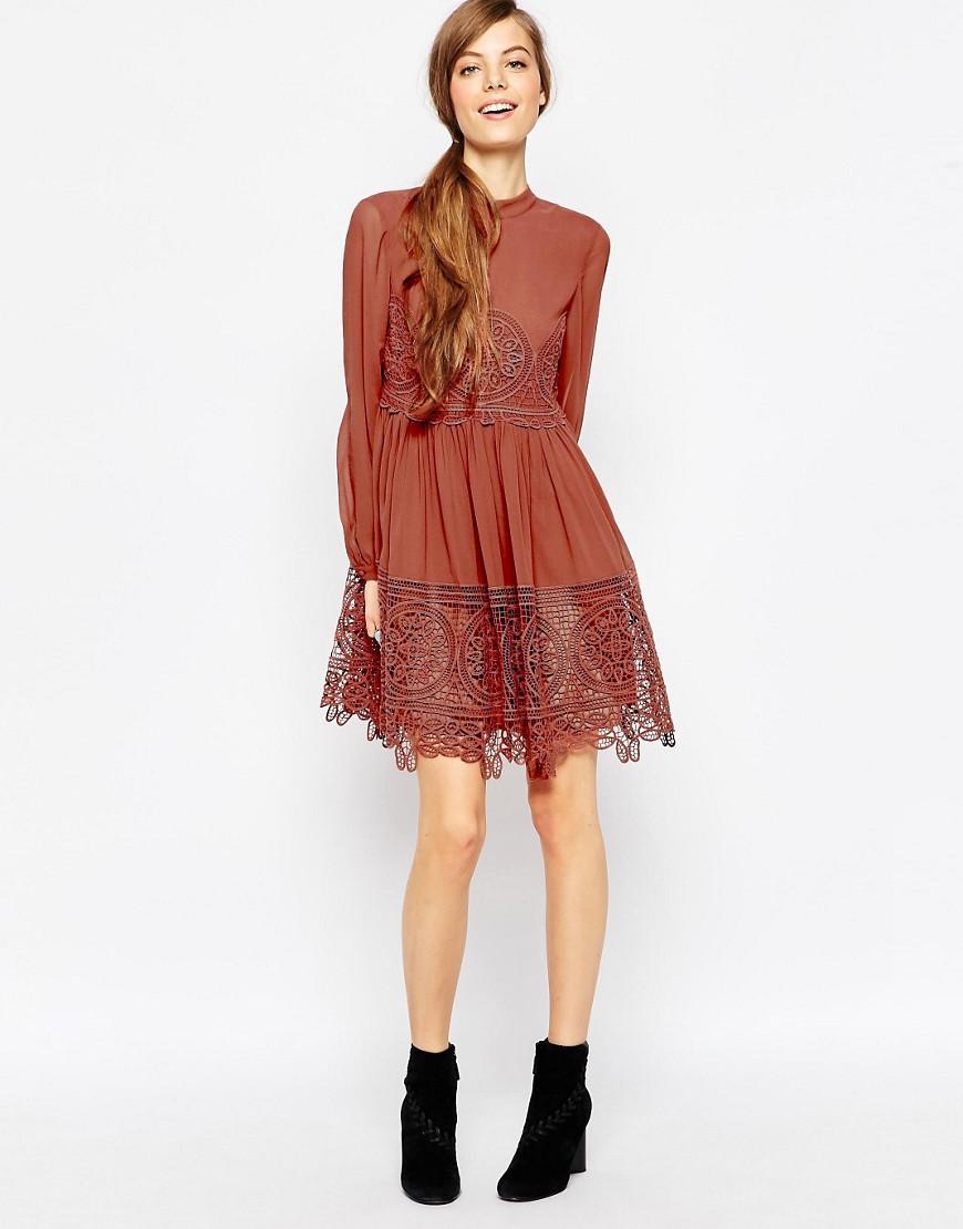 ASOS rust Lace Babydoll Swing Dress.jpg