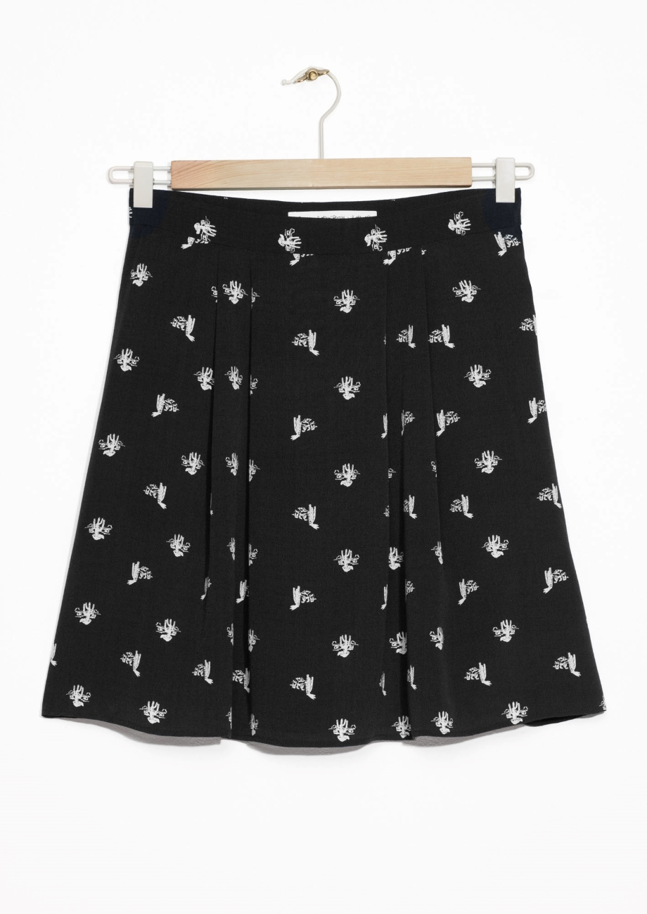 Cactus Print Skirt & other stories black white.jpg