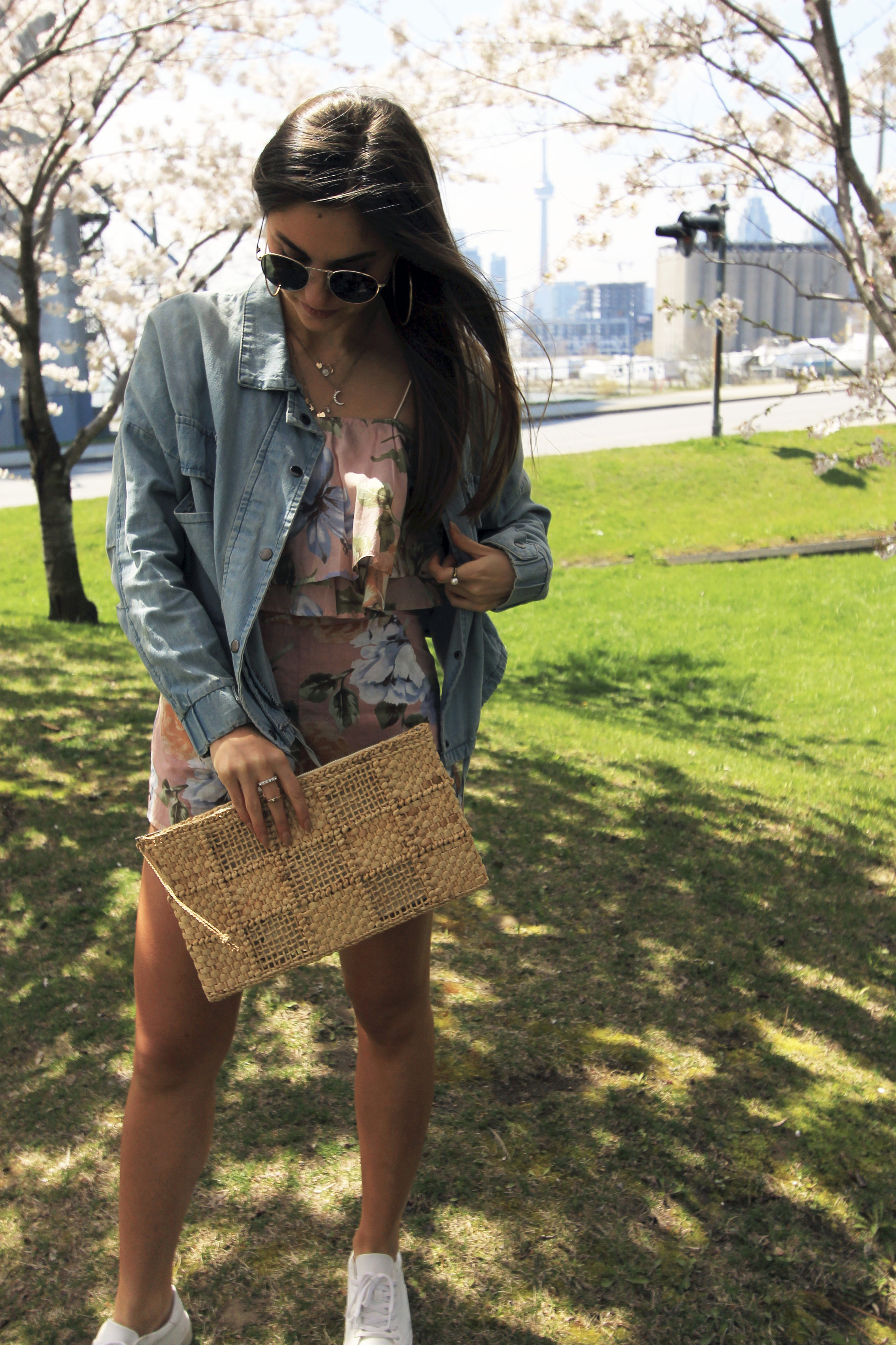 vintage straw clutch floral toby heart ginger set pink denim jacket.jpg