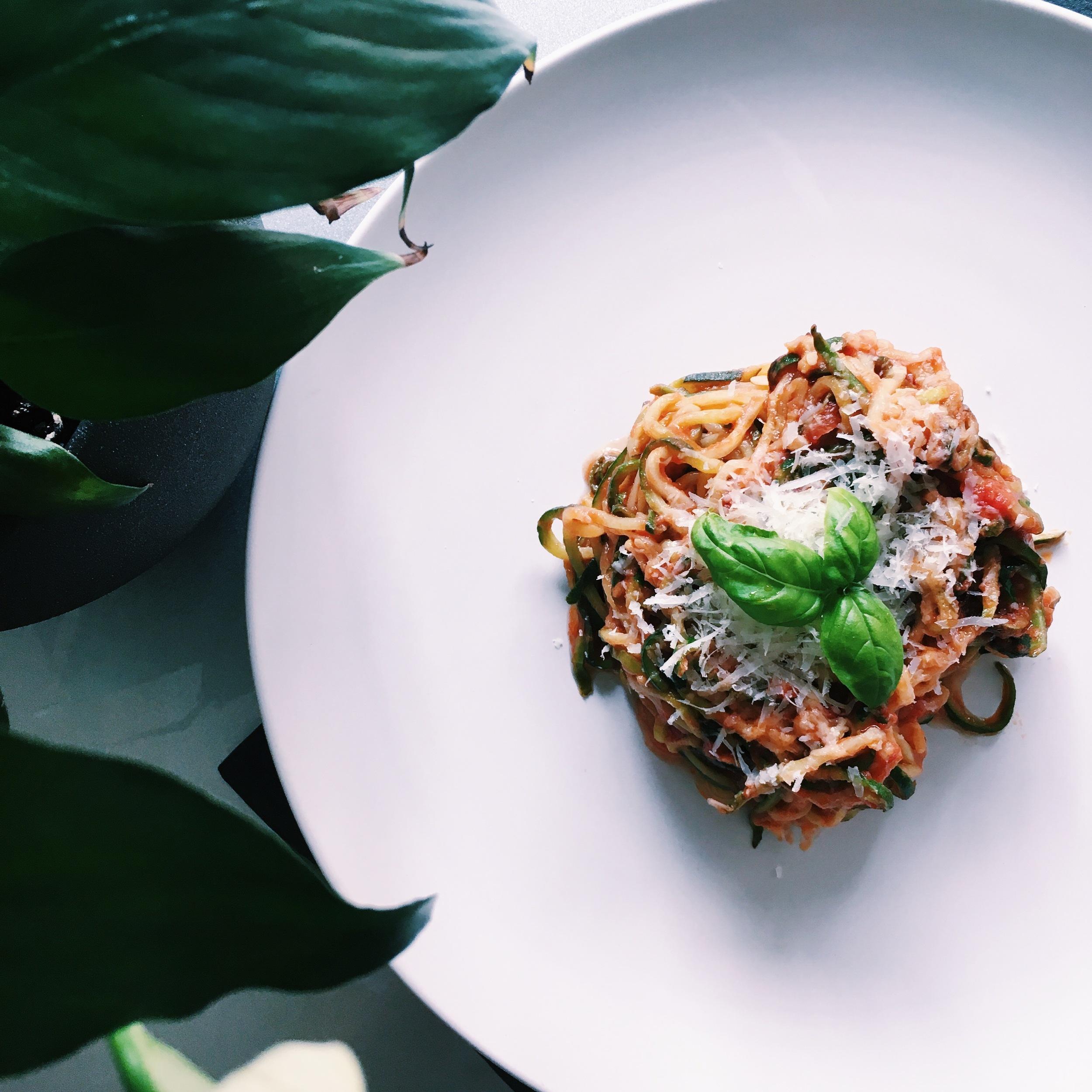Garlic Tomato Zucchini Noodles