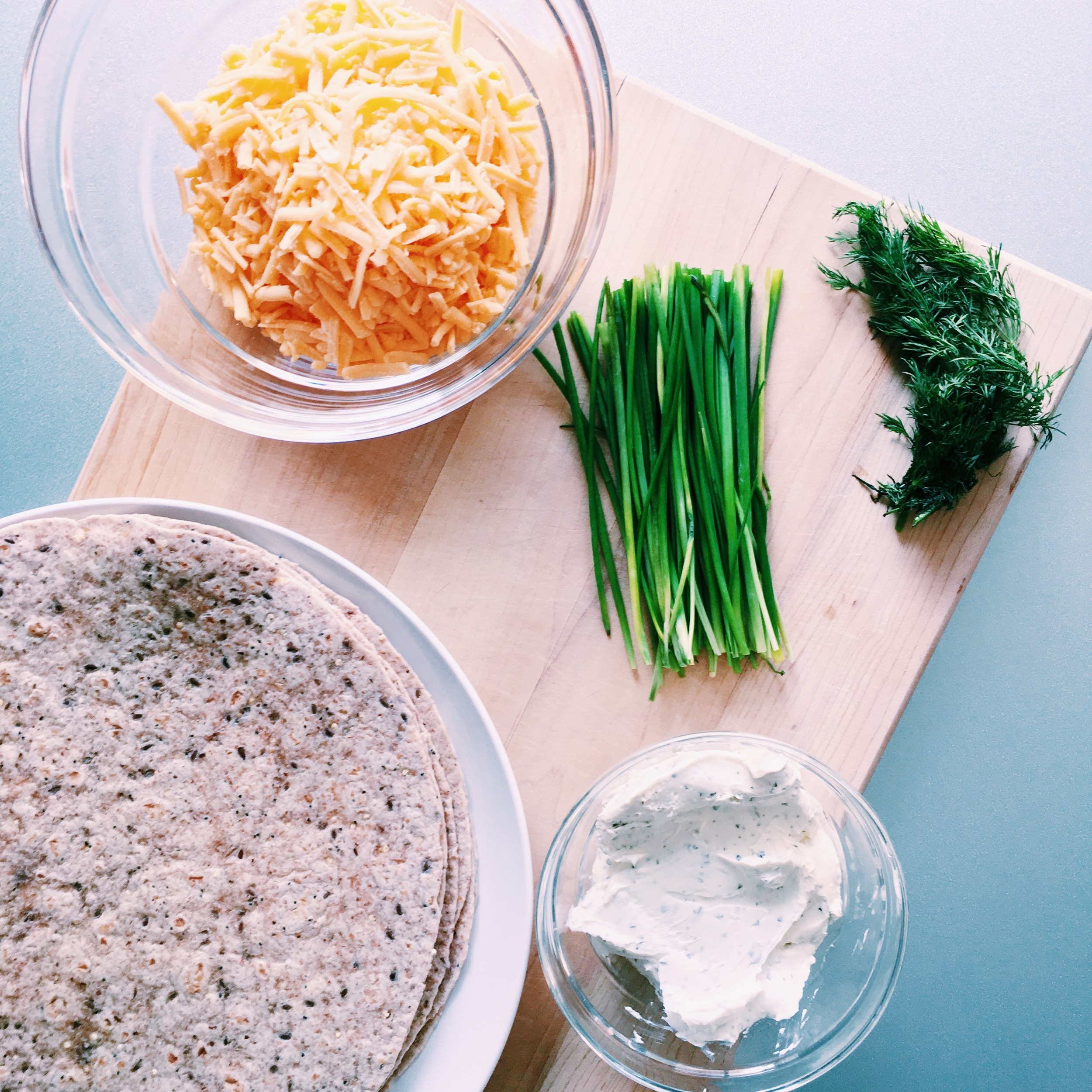 ingredients for Cheese and Chive Pinwheels