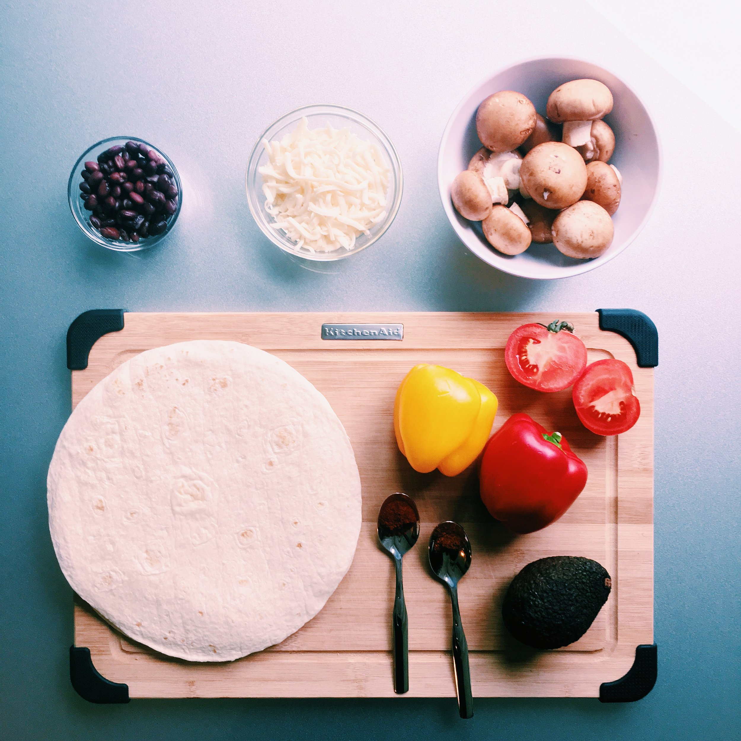 Vegetable Quesadilla ingredients