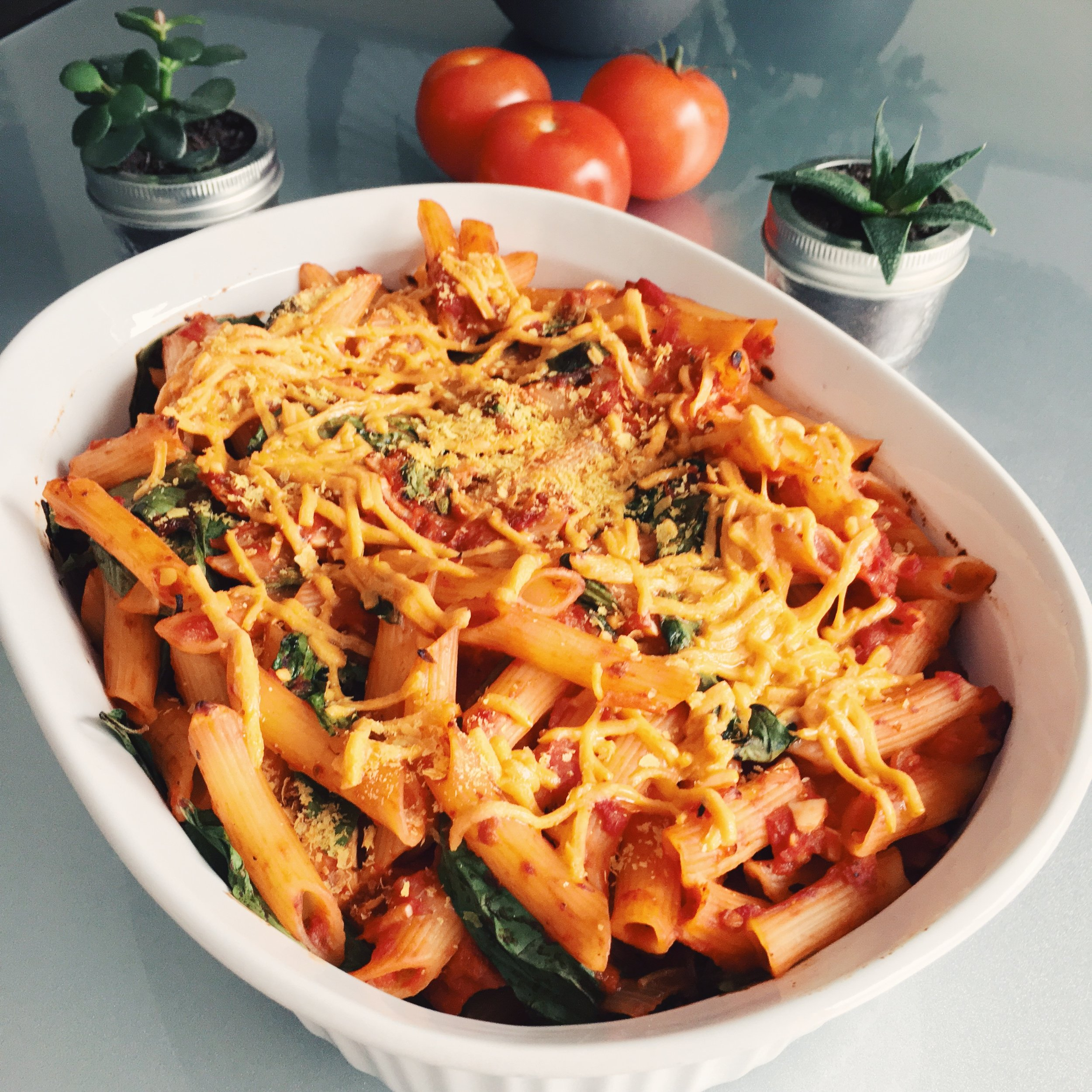 Baked Tomato Basil Pasta