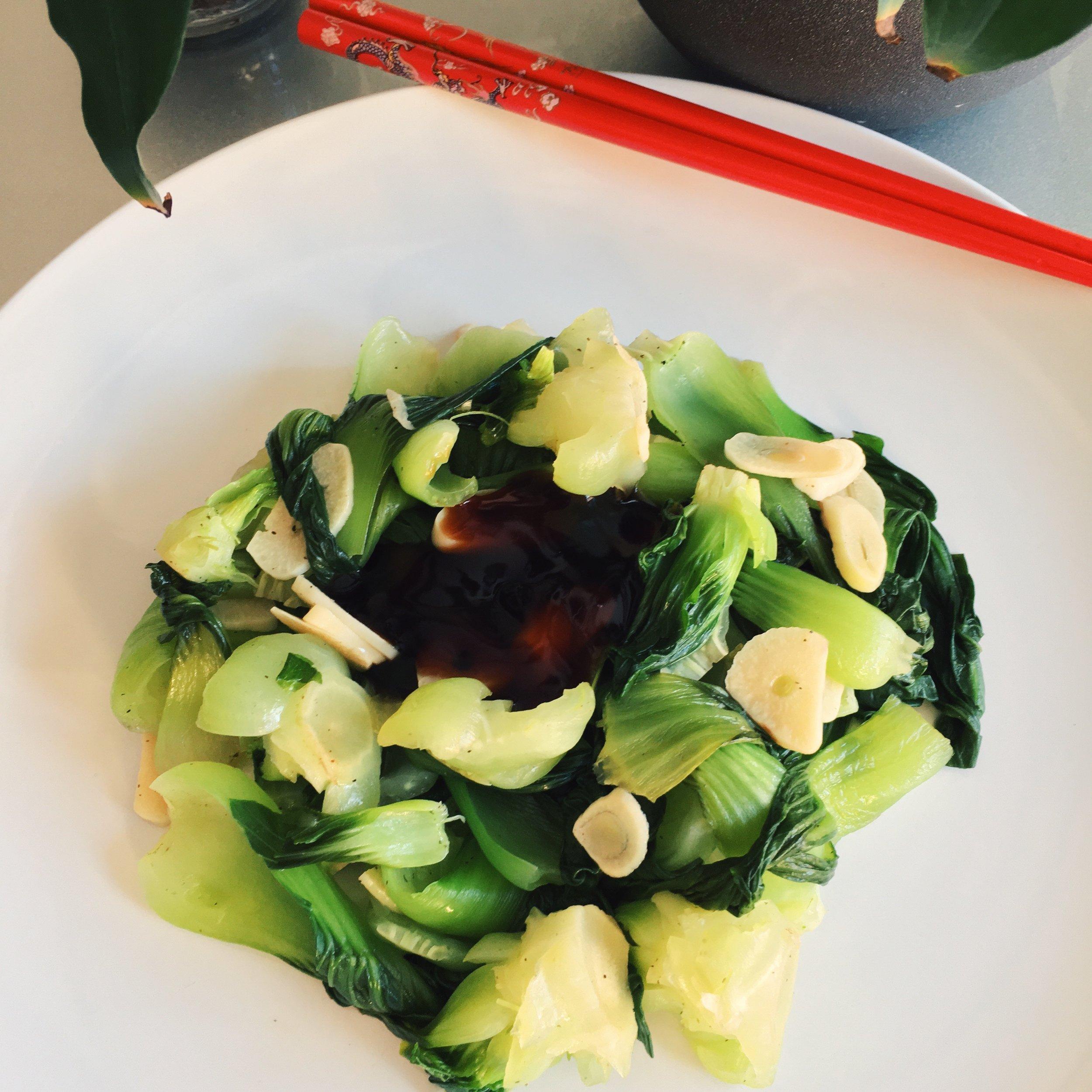 Steamed Garlic Bok Choy