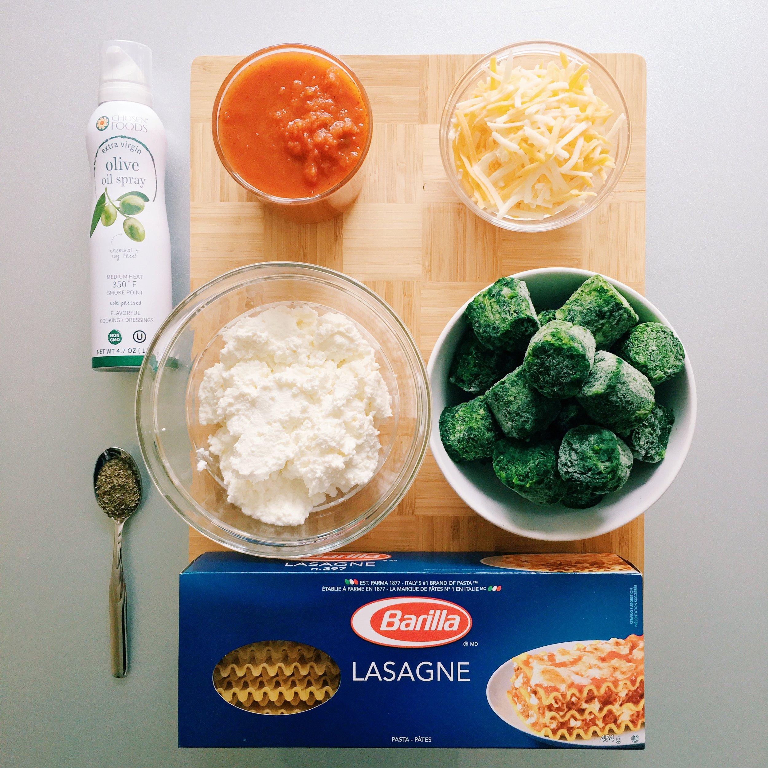 Spinach Ricotta Lasagna ingredients