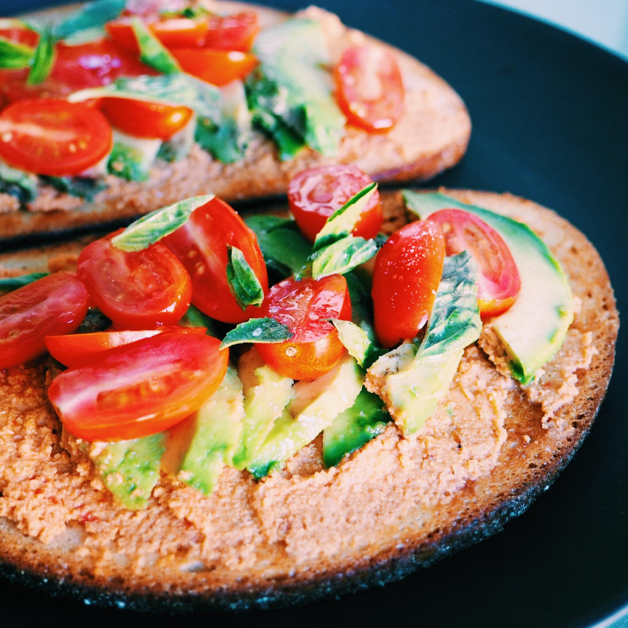 Hummus Avocado Tomato Toast