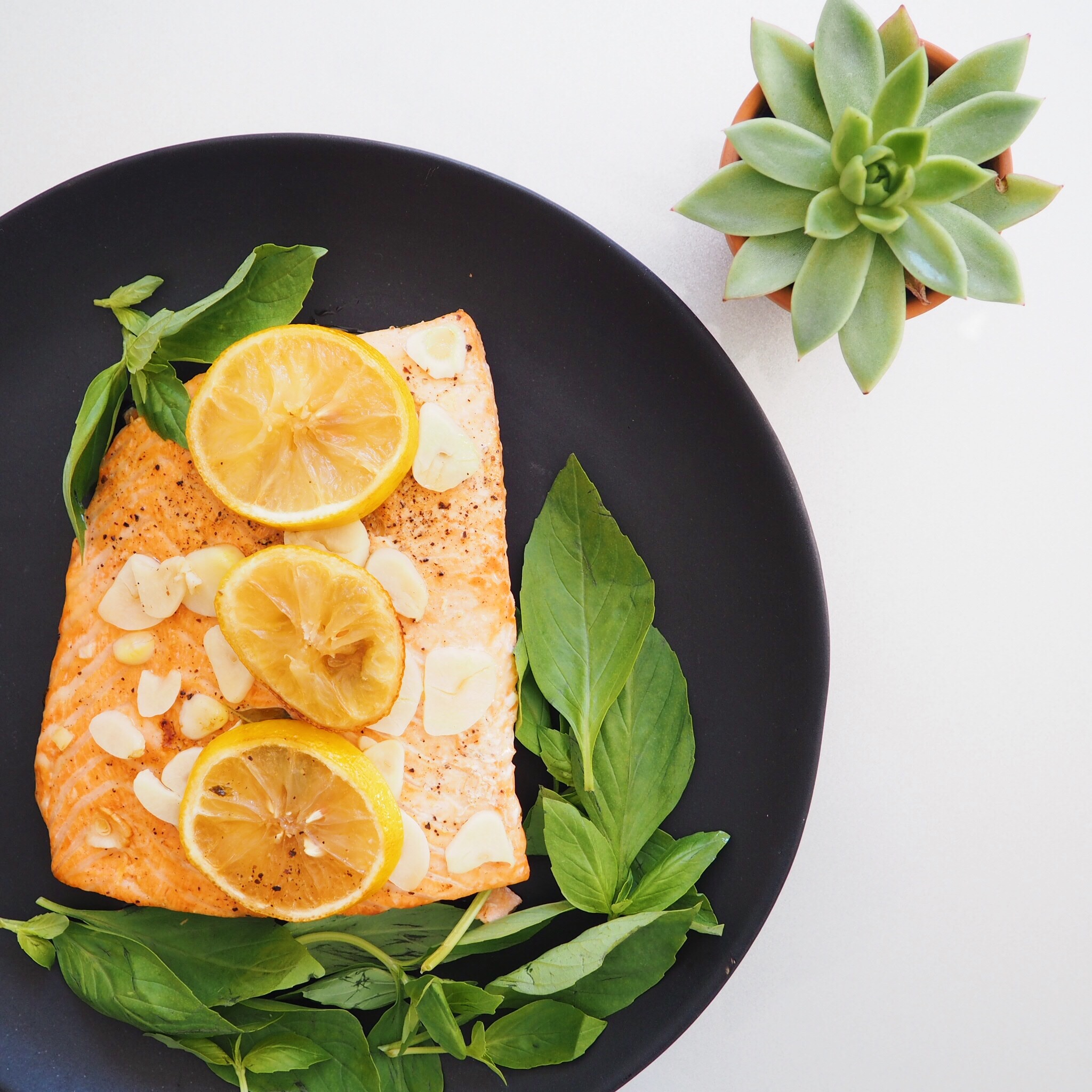 Baked Basil Lemon Salmon
