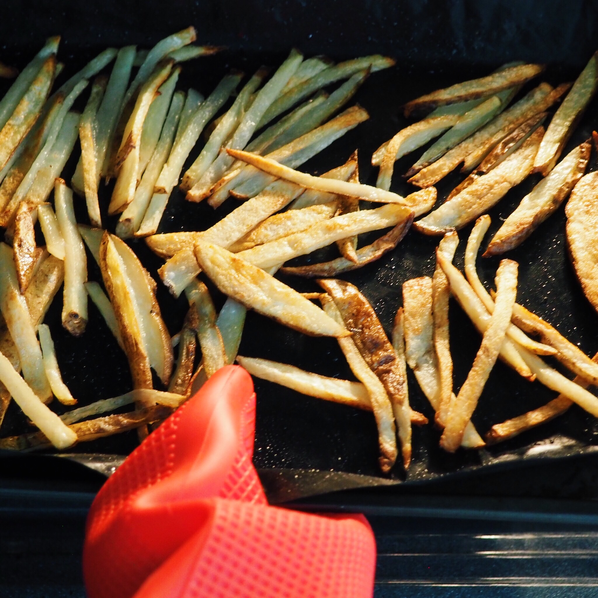 Step 12 - Once fries are golden crispy brown, remove from oven and plate them.