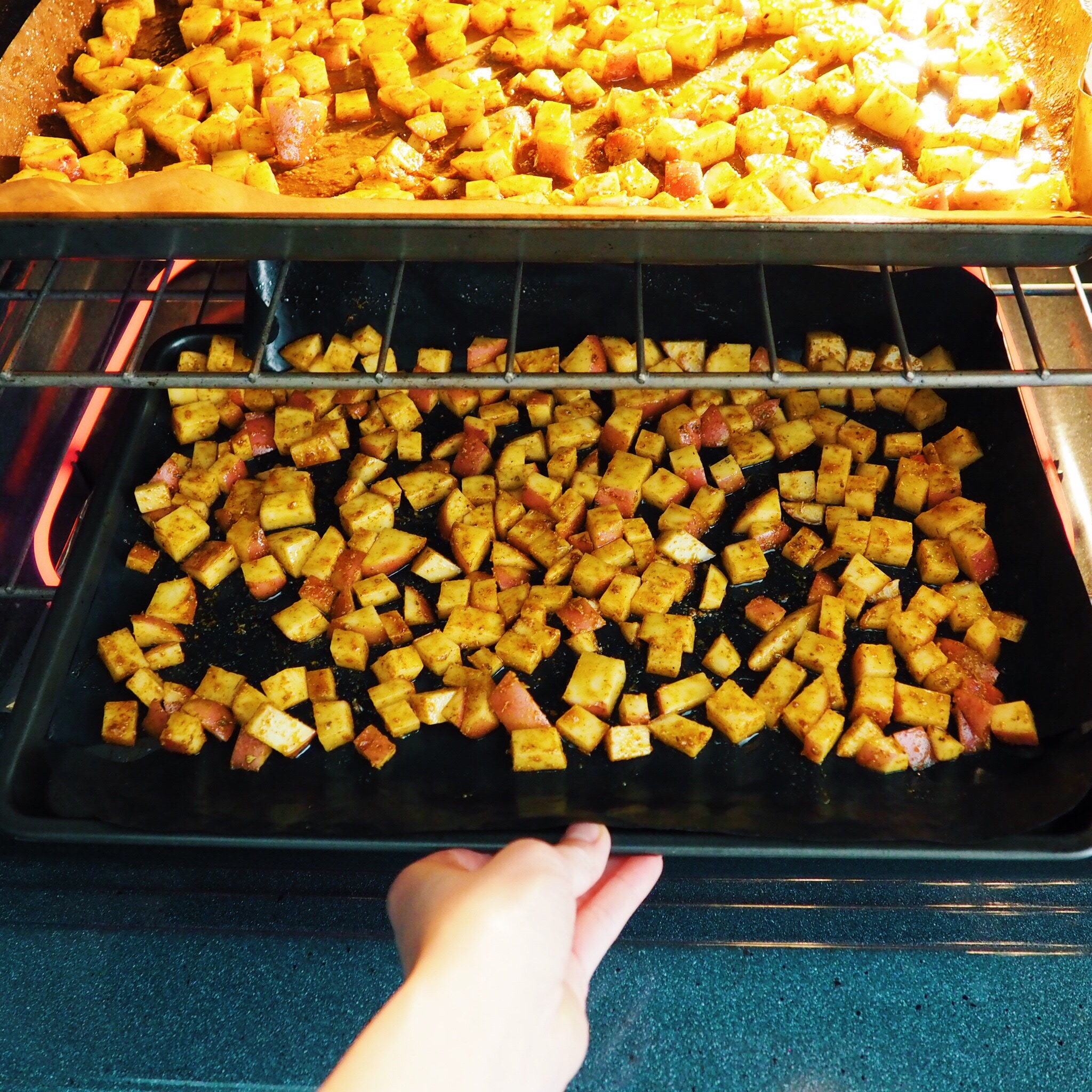 Step 6 - Bake taters for 30 minutes. Flipping them over at the halfway point and bake for another 15 minutes until golden and crispy.