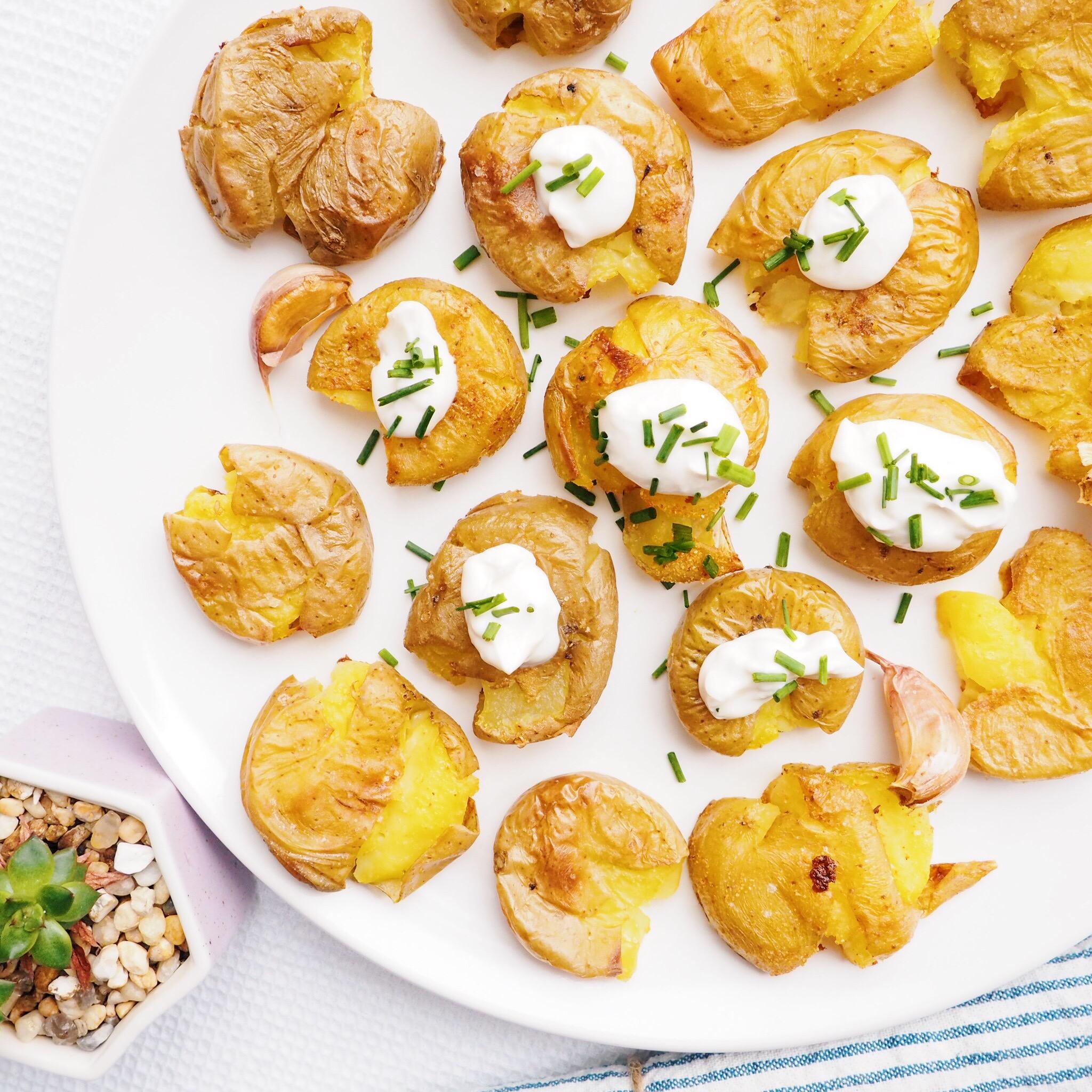 Sour Cream Smashed Potatoes