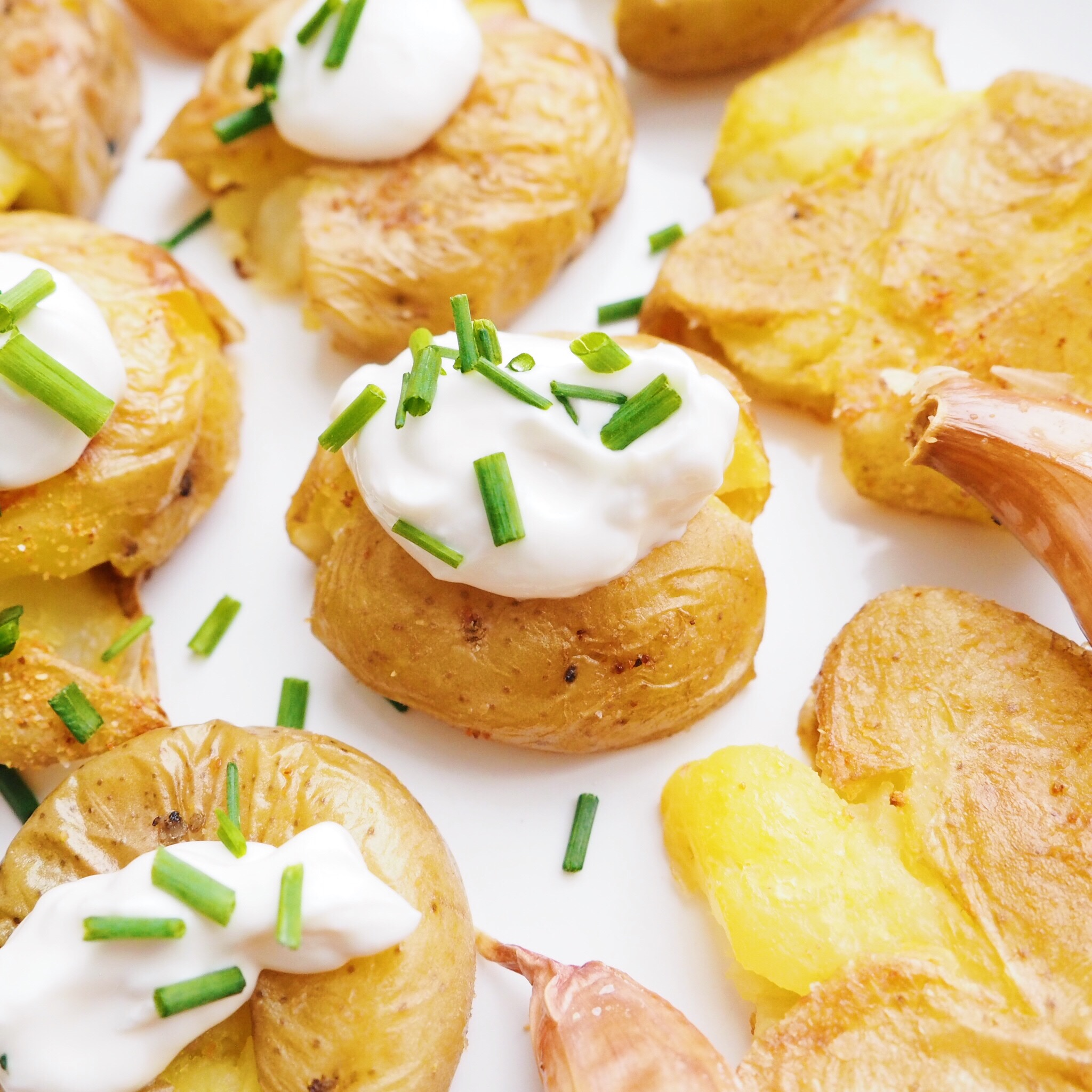 Sour Cream Smashed Potatoes