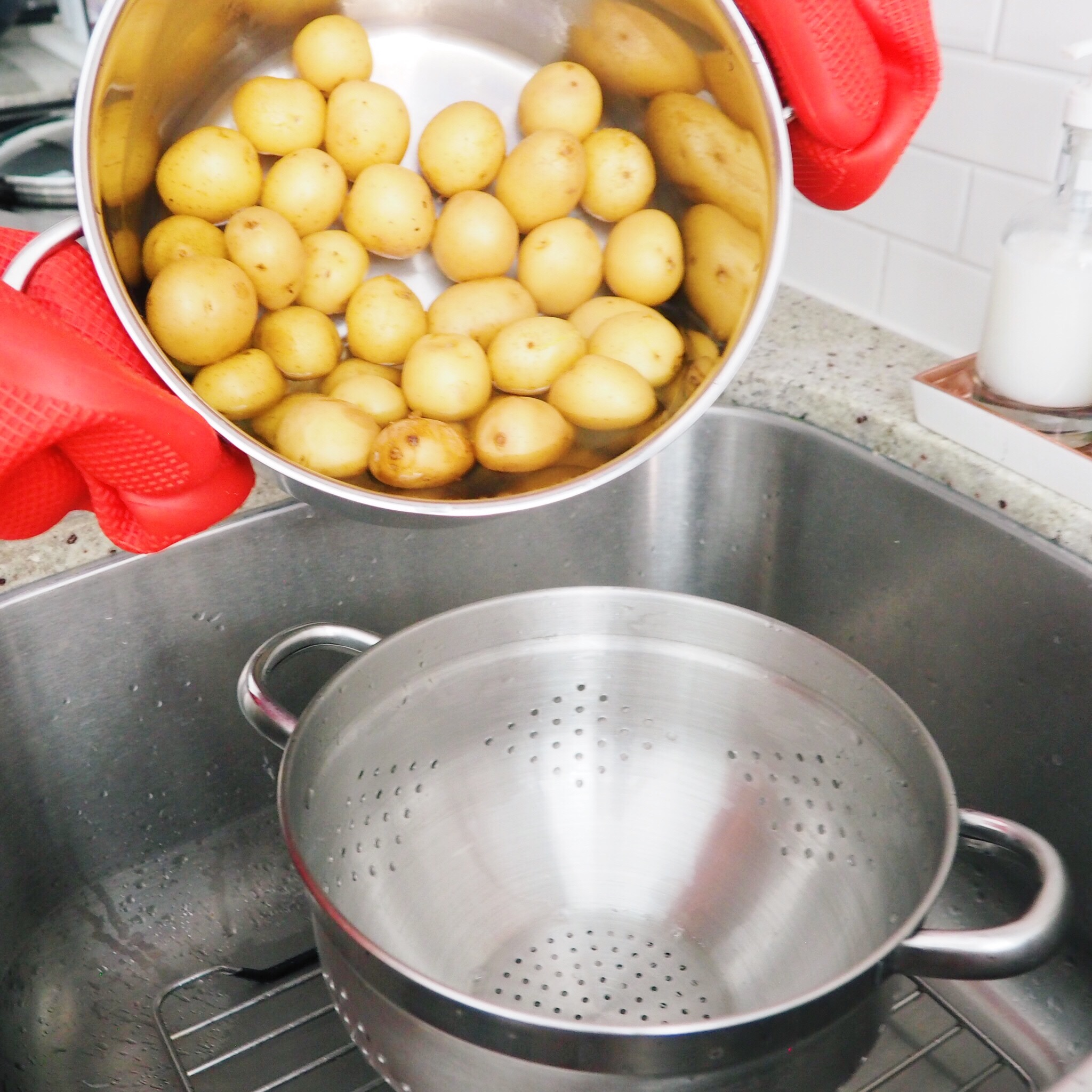Step 3 - Strain your potatoes in a colander