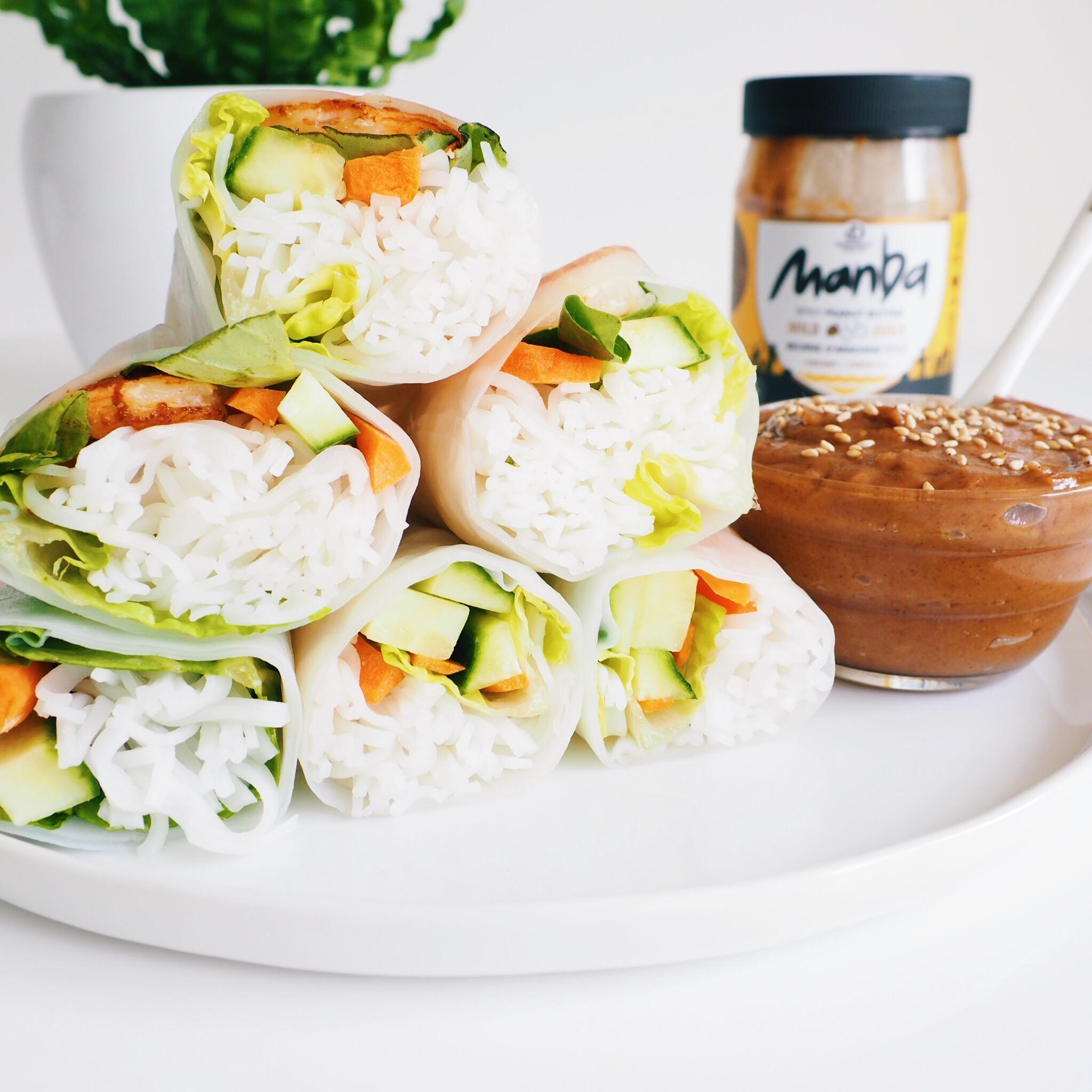 Fresh Shrimp Rolls with Spicy Peanut Sauce