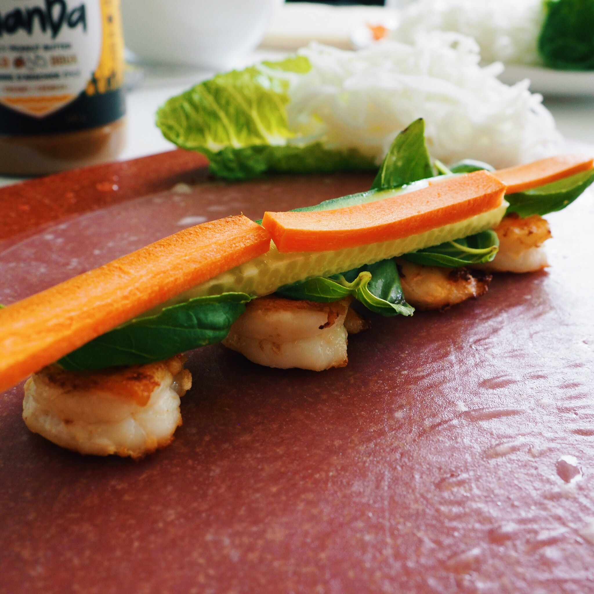 making a fresh shrimp roll