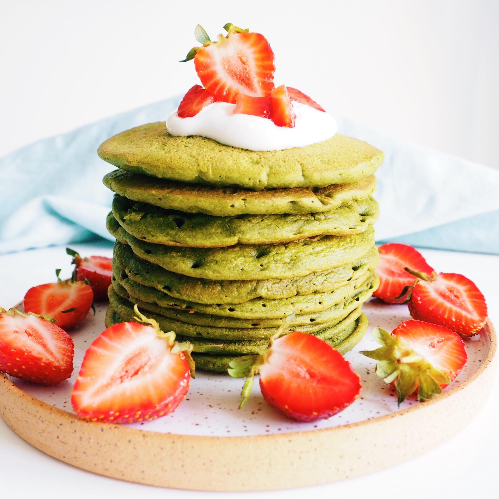 Oat Matcha Blender Pancakes