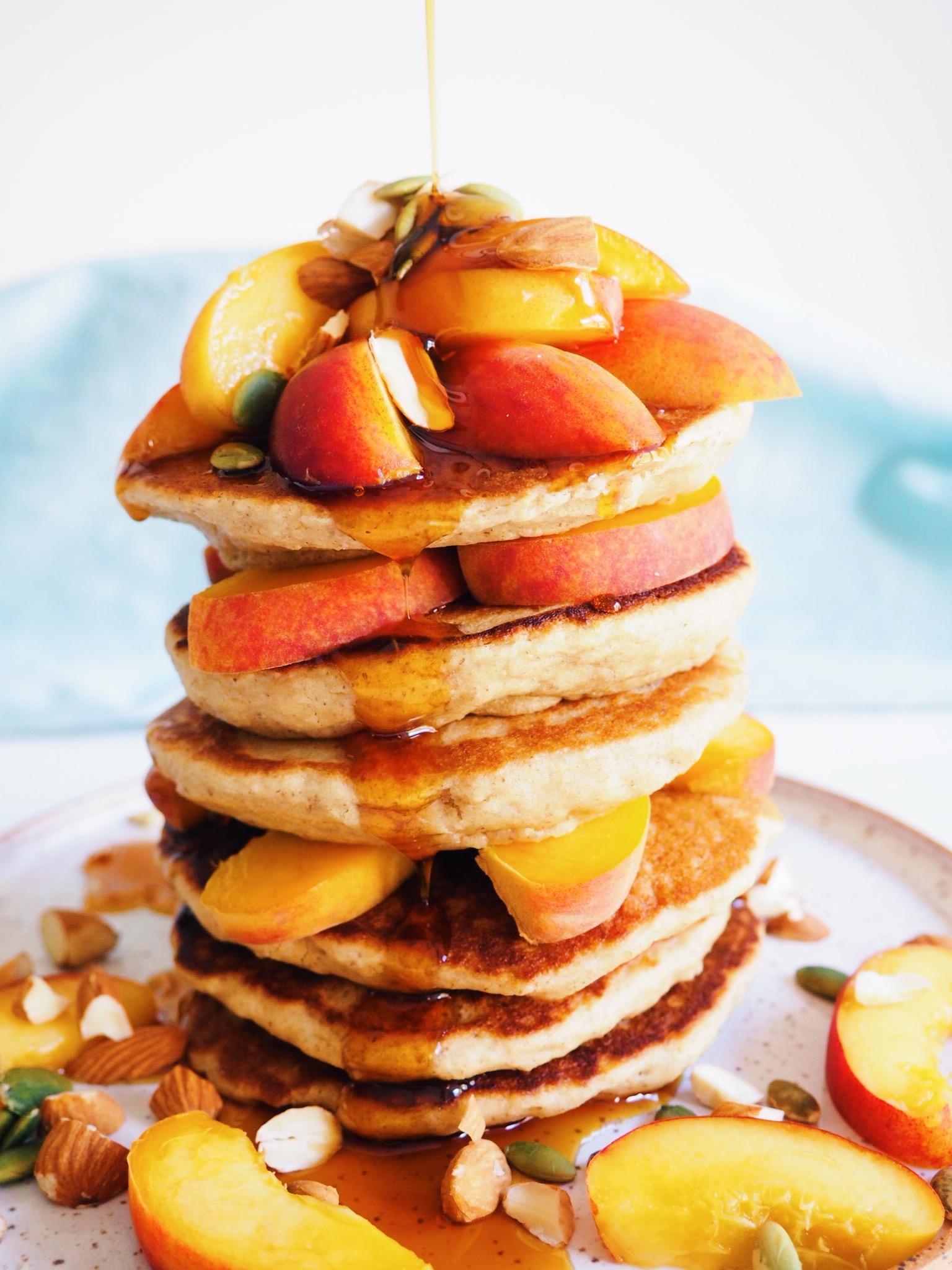 Chia Flax Oat Flour Pancakes