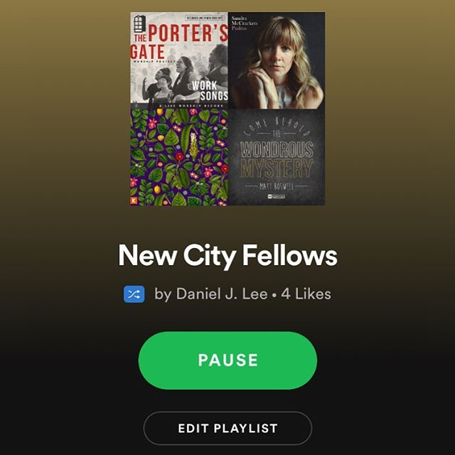 "Looking for good music to listen to while you work? We have an (unofficial) Spotify playlist full of songs that reflect our curriculum. Open Spotify and search for ""New City Fellows."" Feel free to suggest songs to add! • Reminder: early applications to become a Fellow this year are due tomorrow, Feb 28. Apply at newcityfellows.org"
