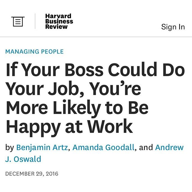 "In case you missed this from @harvard_business_review: ""employees are far happier when they are led by people with deep expertise in the core activity of the business. This suggests that received wisdom about what makes a good boss may need some rethinking. It's not uncommon to hear people assert that it's a bad idea to promote an engineer to lead other engineers, or an editor to lead other editors. A good manager doesn't need technical expertise, this argument goes, but rather, a mix of qualities like charisma, organizational skills, and emotional intelligence. Those qualities do matter, but what our research suggests is that the oft-overlooked quality of having technical expertise also matters enormously."" Full article at bit.ly/2intU2p"